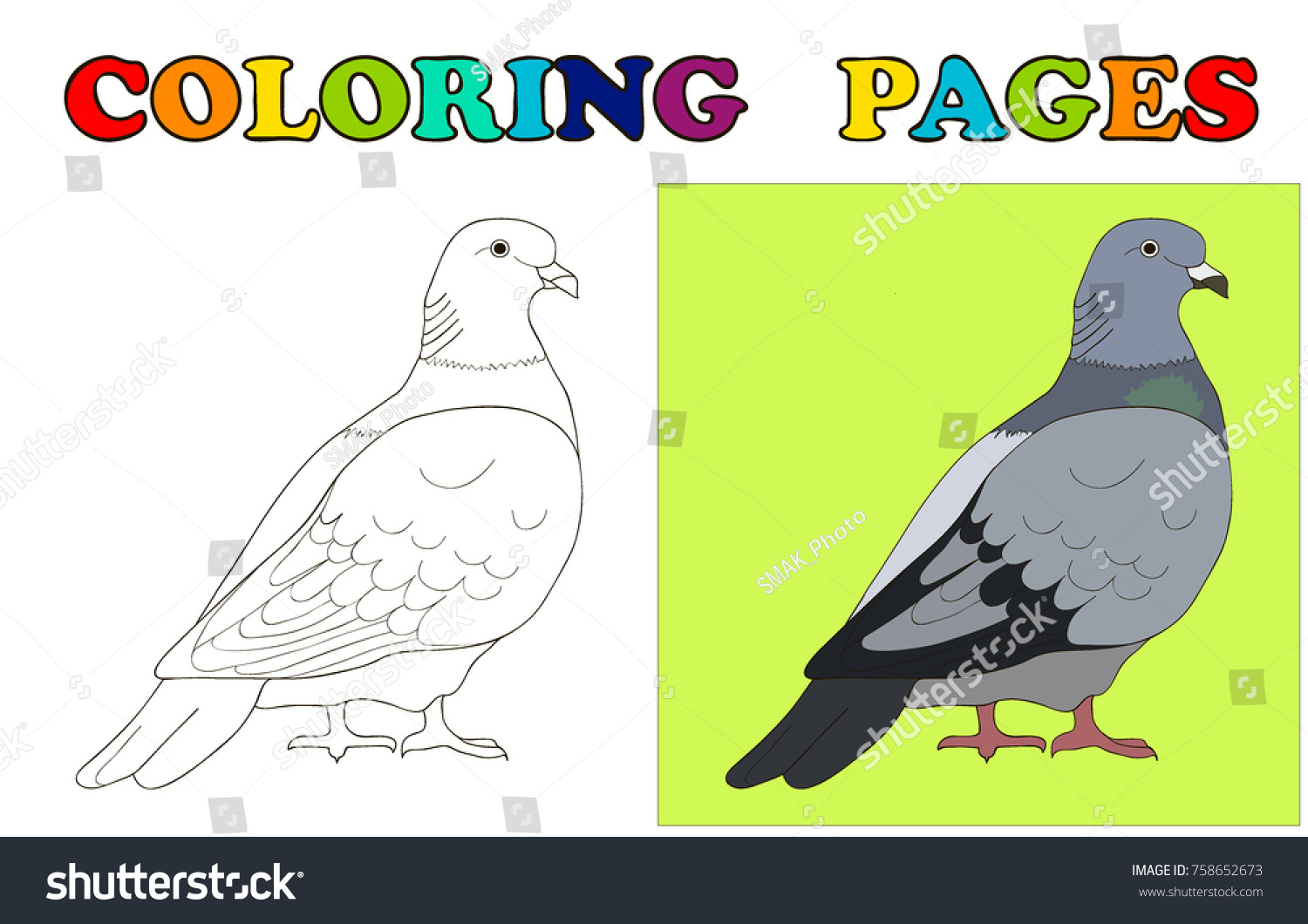 Dove To Be Coloring Pages Book For Preschool Kids Vector Illustration