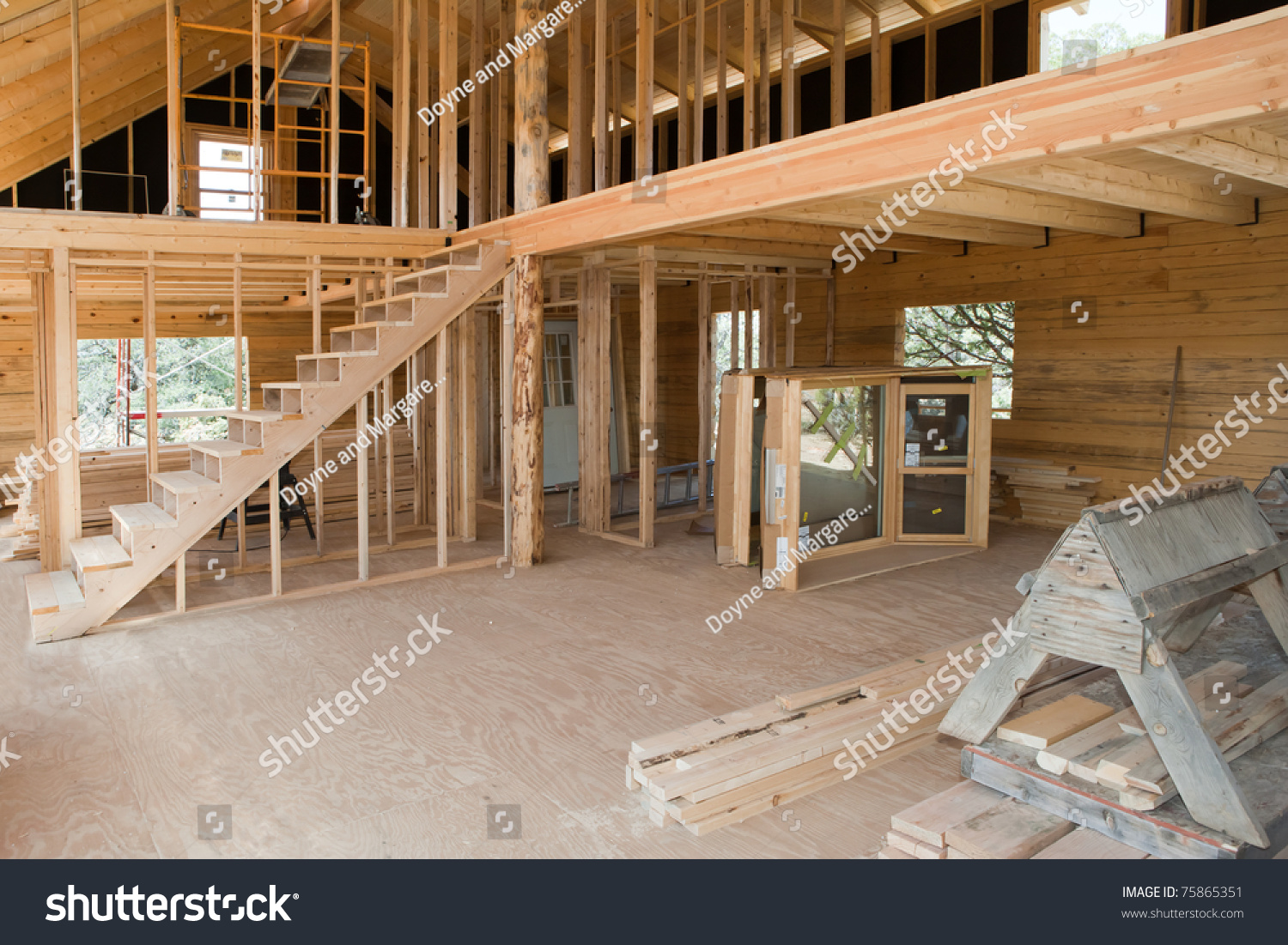 Interior view construction new residential building stock - Building a new home ...