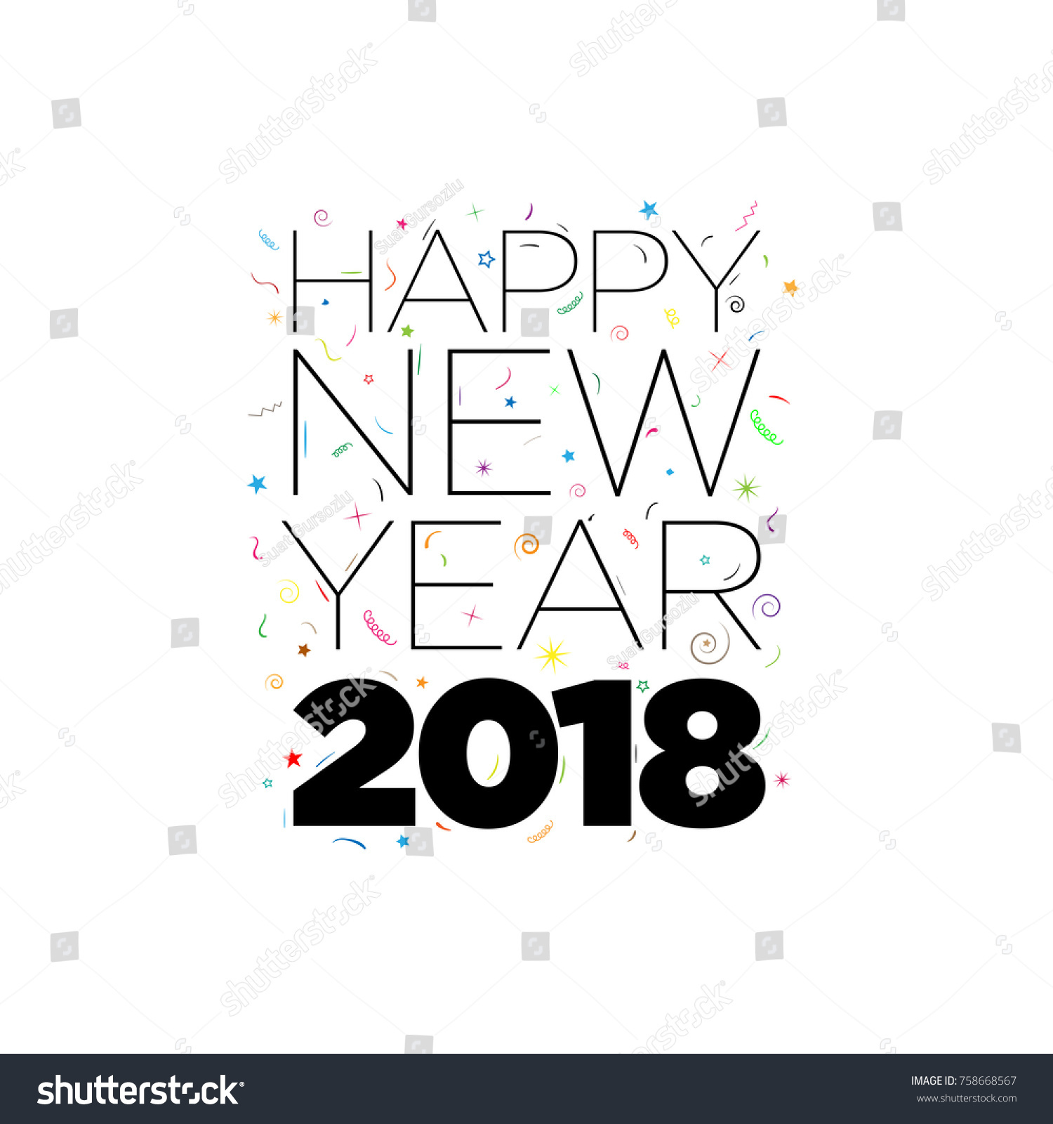 black happy new year 2018 text with confetti elements on white background vector typographic design
