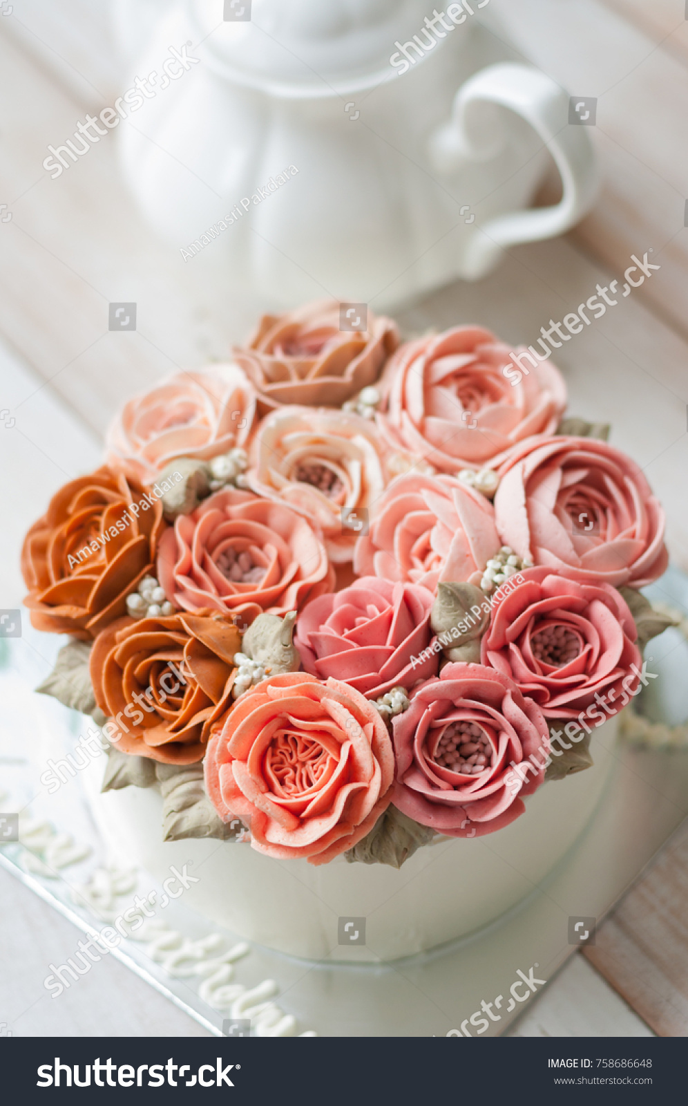 Buttercream Flower Cake Happy Birthday Cake Stock Photo (100% Legal ...