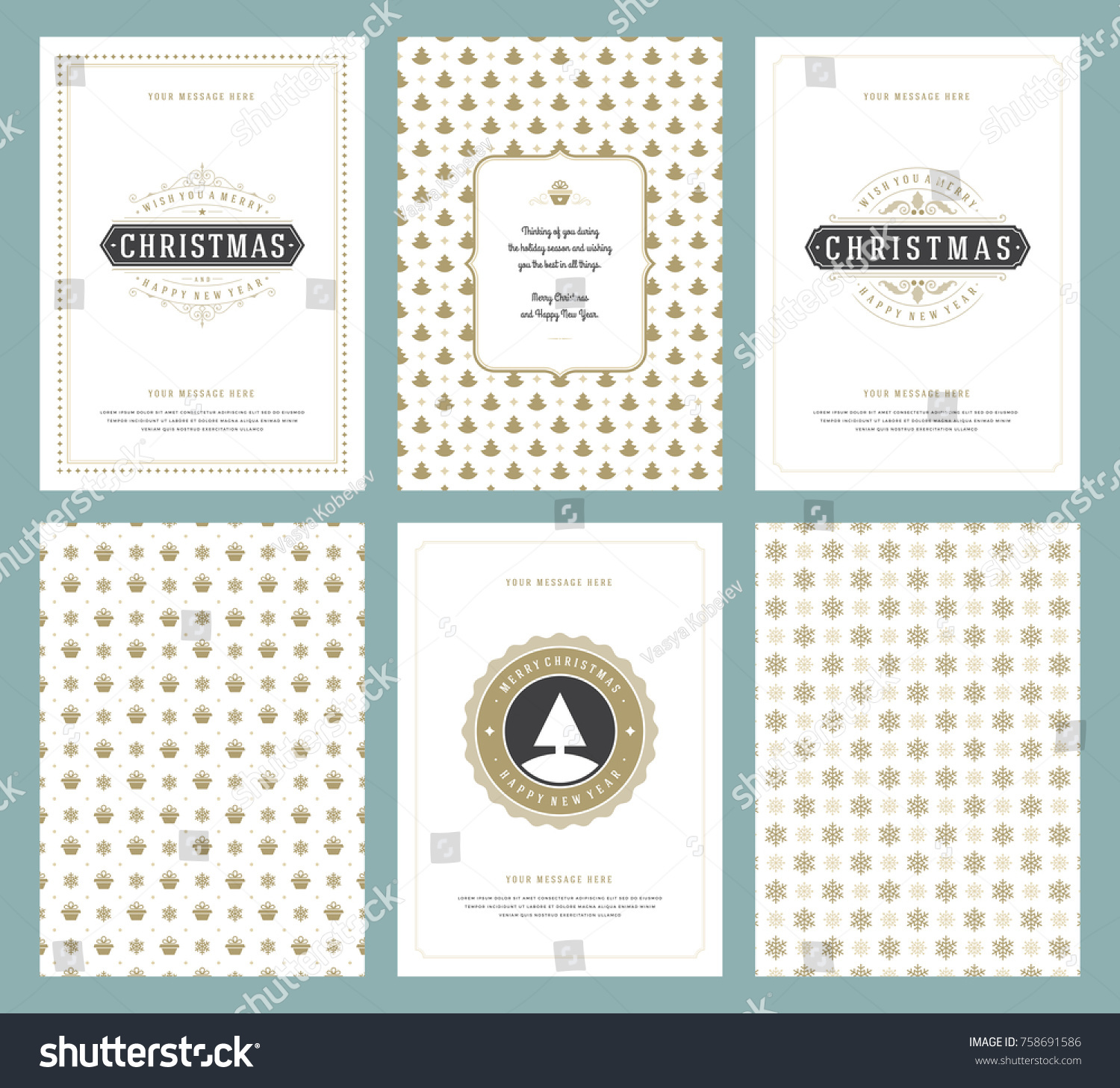 Merry Christmas Greeting Cards Templates Golden Stock Vector