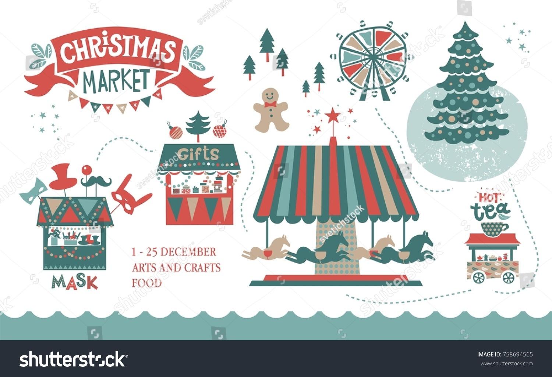 Christmas Market Illustration Winter Time Merry Stock Vector ...