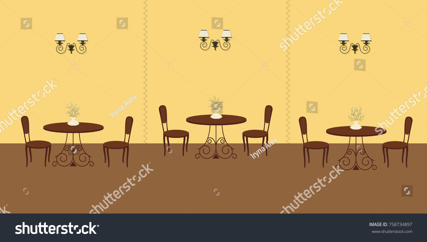 Interior Restaurant Yellow Colors There Three Stock Vector 758734897 ...