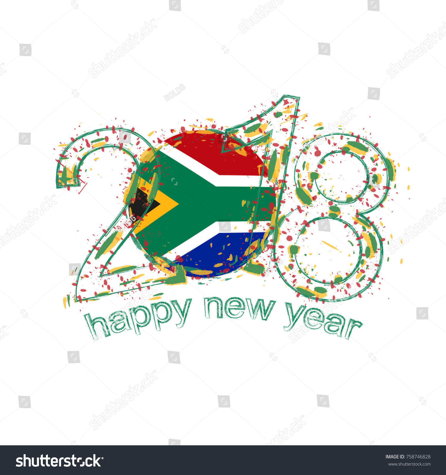 2018 Happy New Year South Africa Stock Vector 758746828 Shutterstock