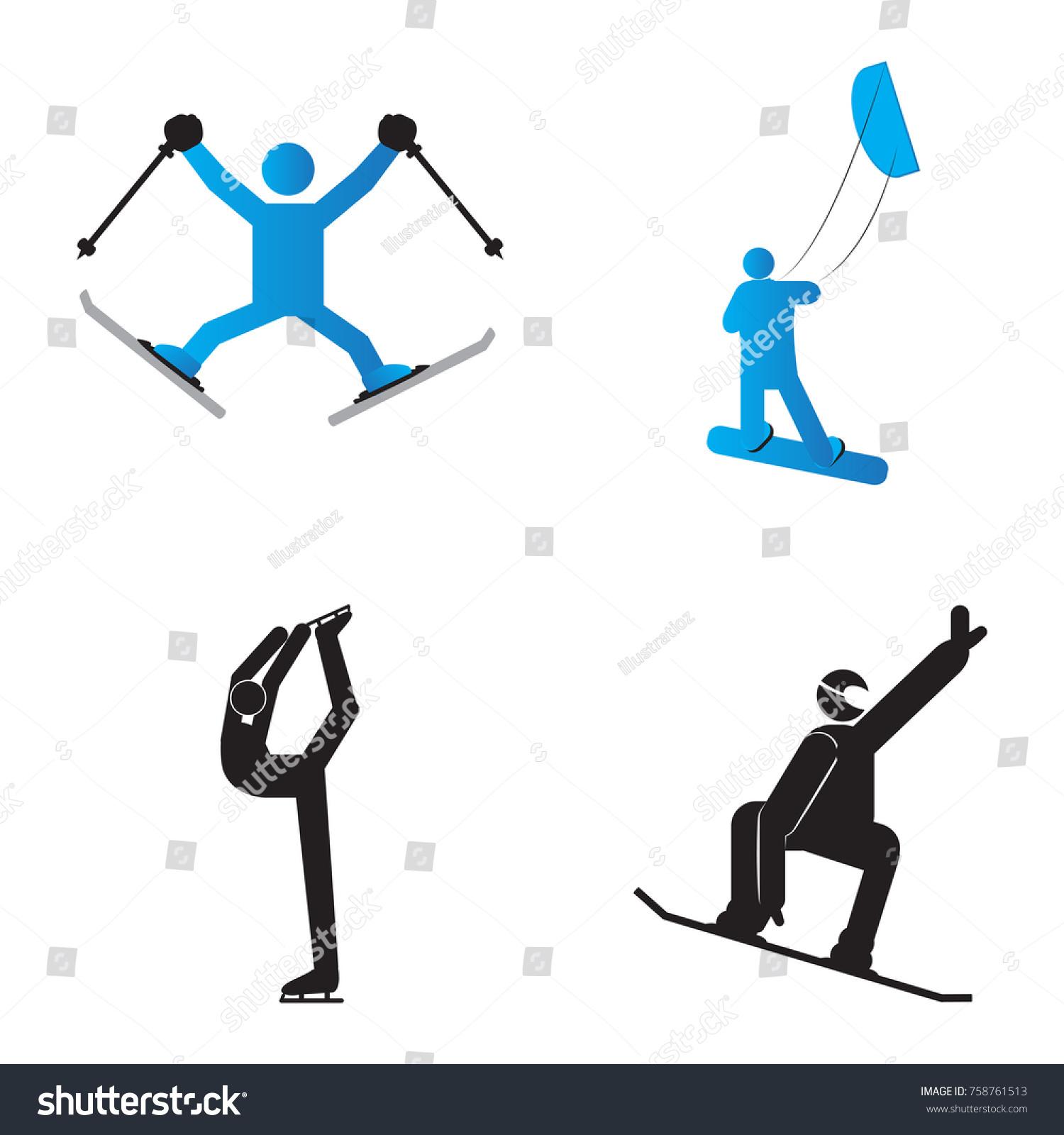Set Winter Sport Symbols Vector Illustratio Stock Vector Royalty