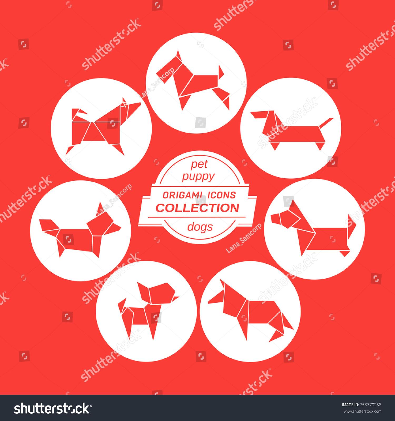 Cartoon Dog Icon Set Stylized Paper Stock Vector 758770258 ...