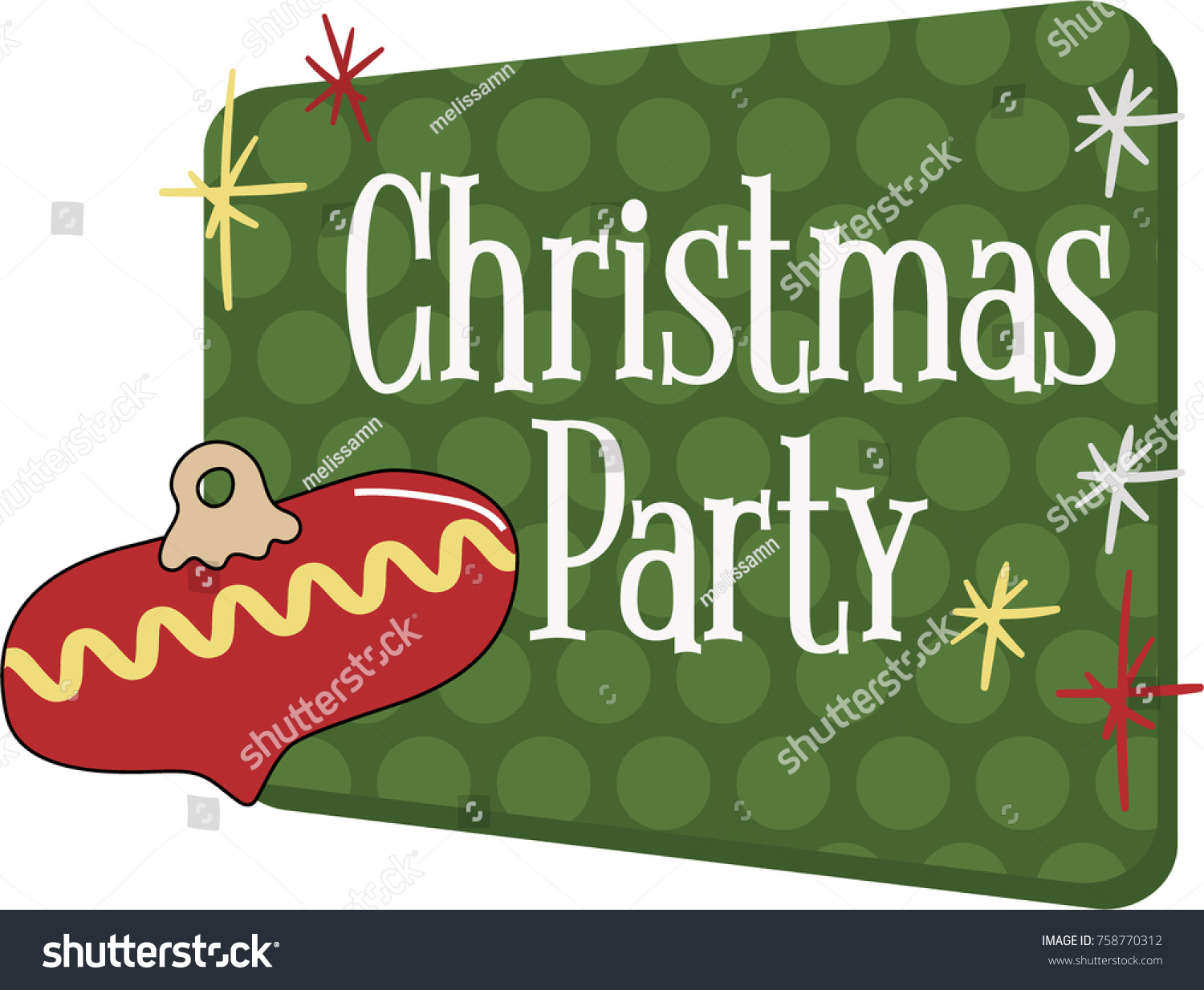 Christmas Party Invitation Vector Graphic Vintage Stock Vector ...