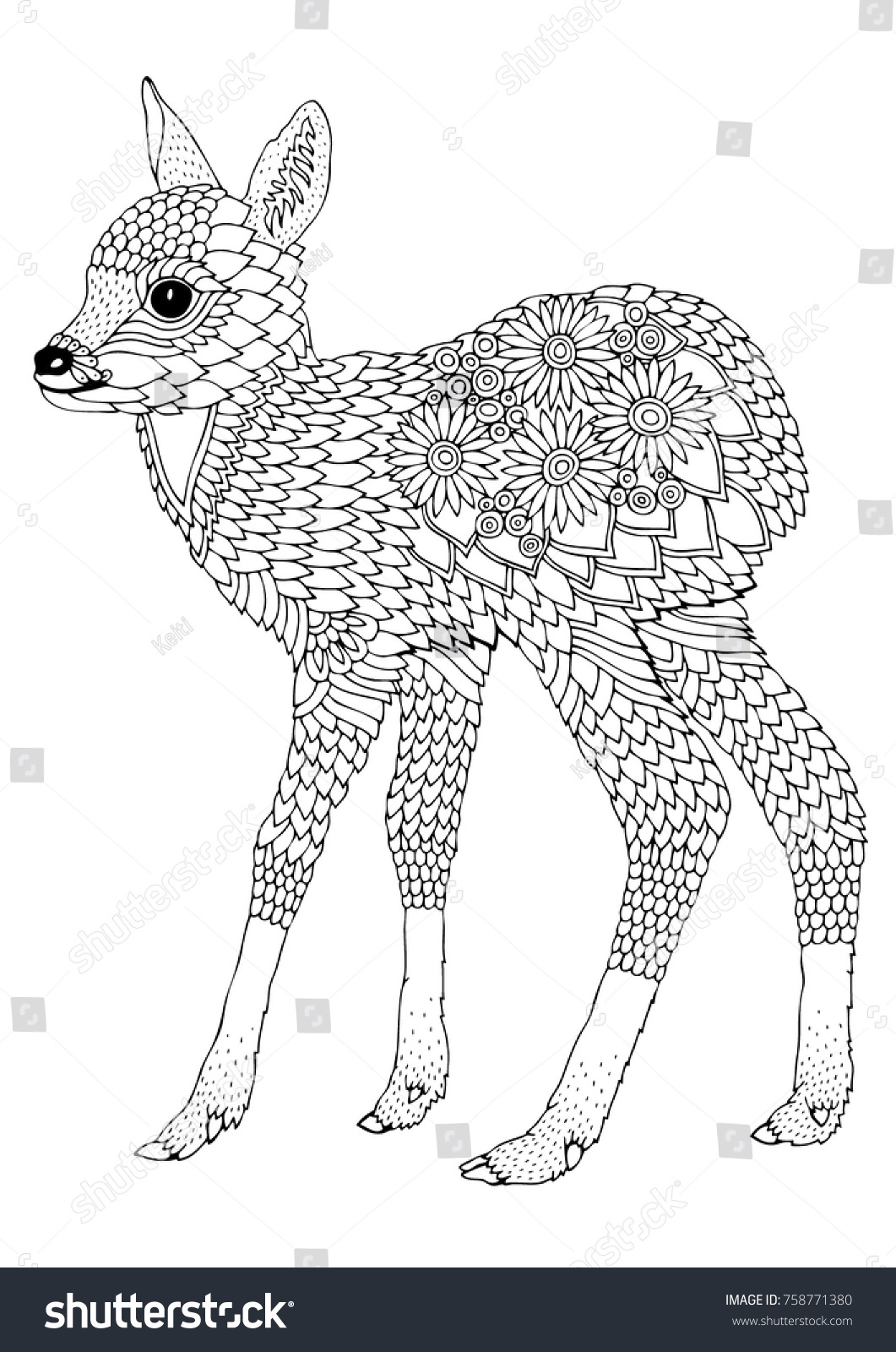 cute fawn hand drawn picture sketch for anti stress adult coloring book in