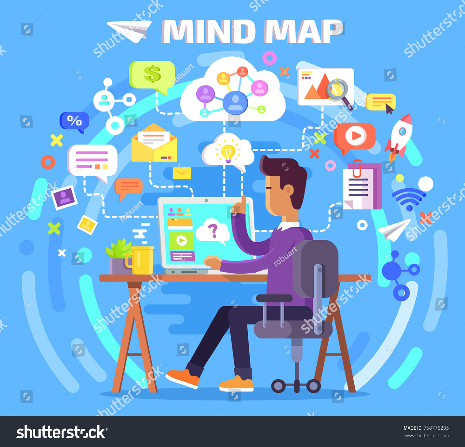 Mind Map Person Who Works Computer Stock Illustration 758775205 ...
