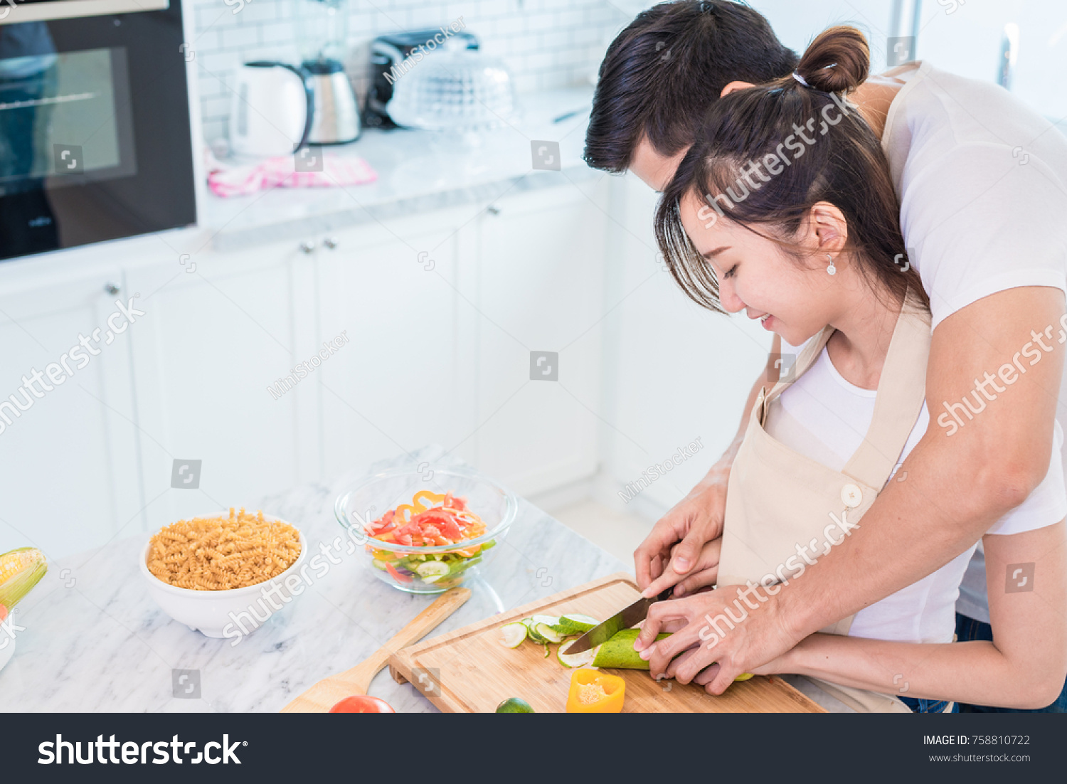 Asian Young Lovers Couples Cooking Breakfast Stock Photo (Royalty ...