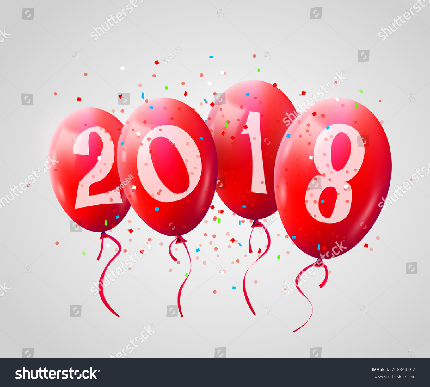 Greeting card 2018 christmas new year stock vector royalty free greeting card 2018 christmas or new year card with realistic red balloons and numbers on white m4hsunfo