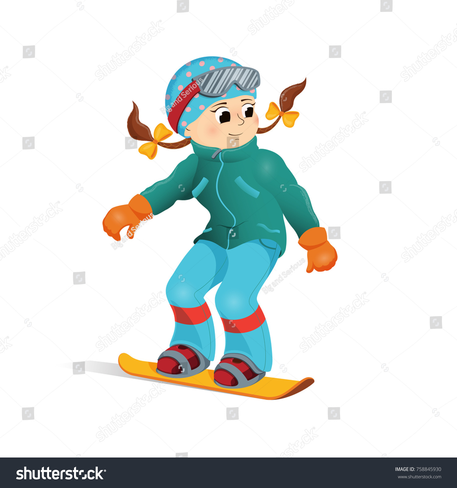 Happy Girl Warm Clothes Snowboarding Downhill Stock Vector Royalty Free 758845930