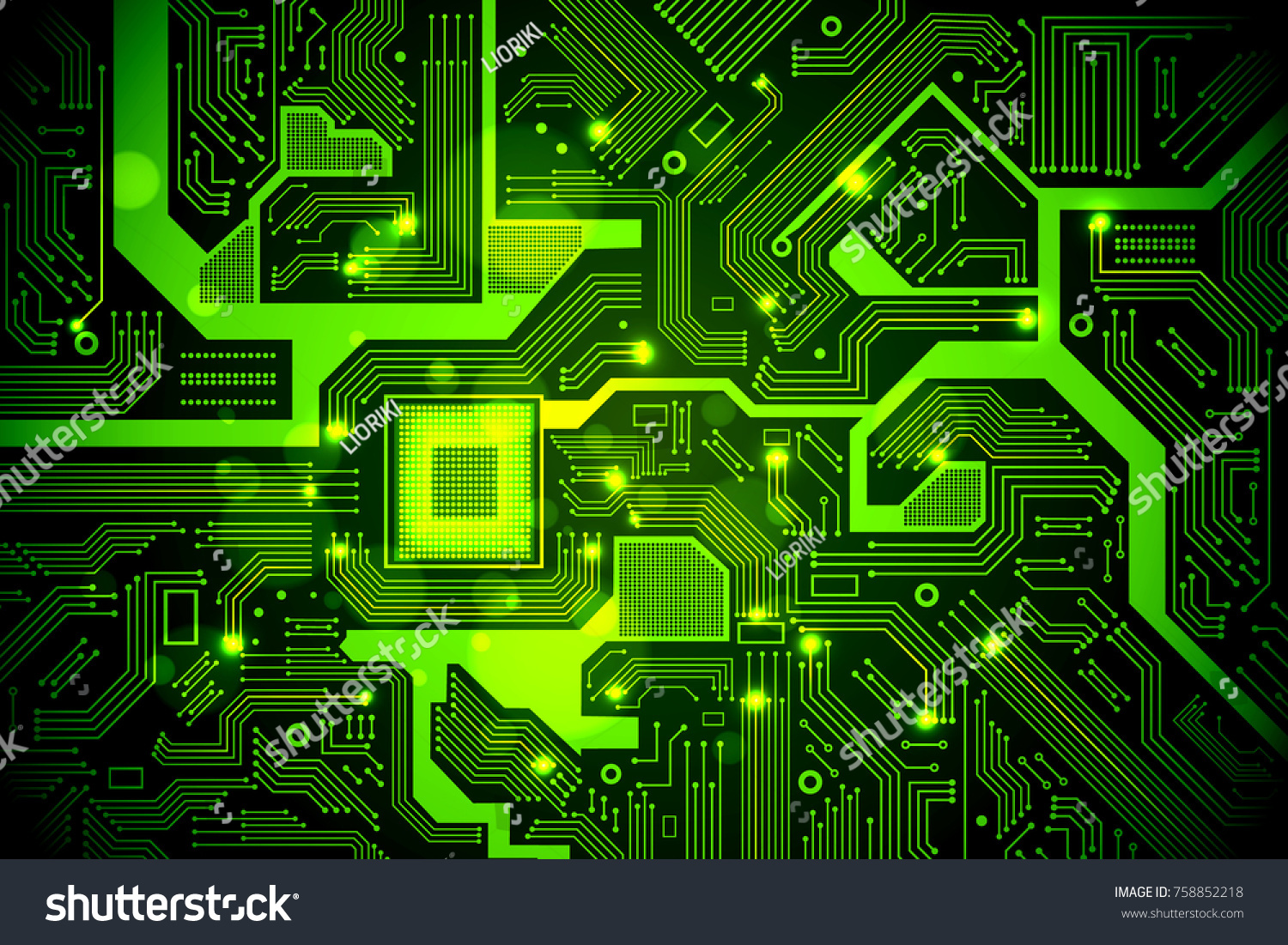 High Tech Electronic Circuit Board Vector Stock Royalty Free Symbols Background