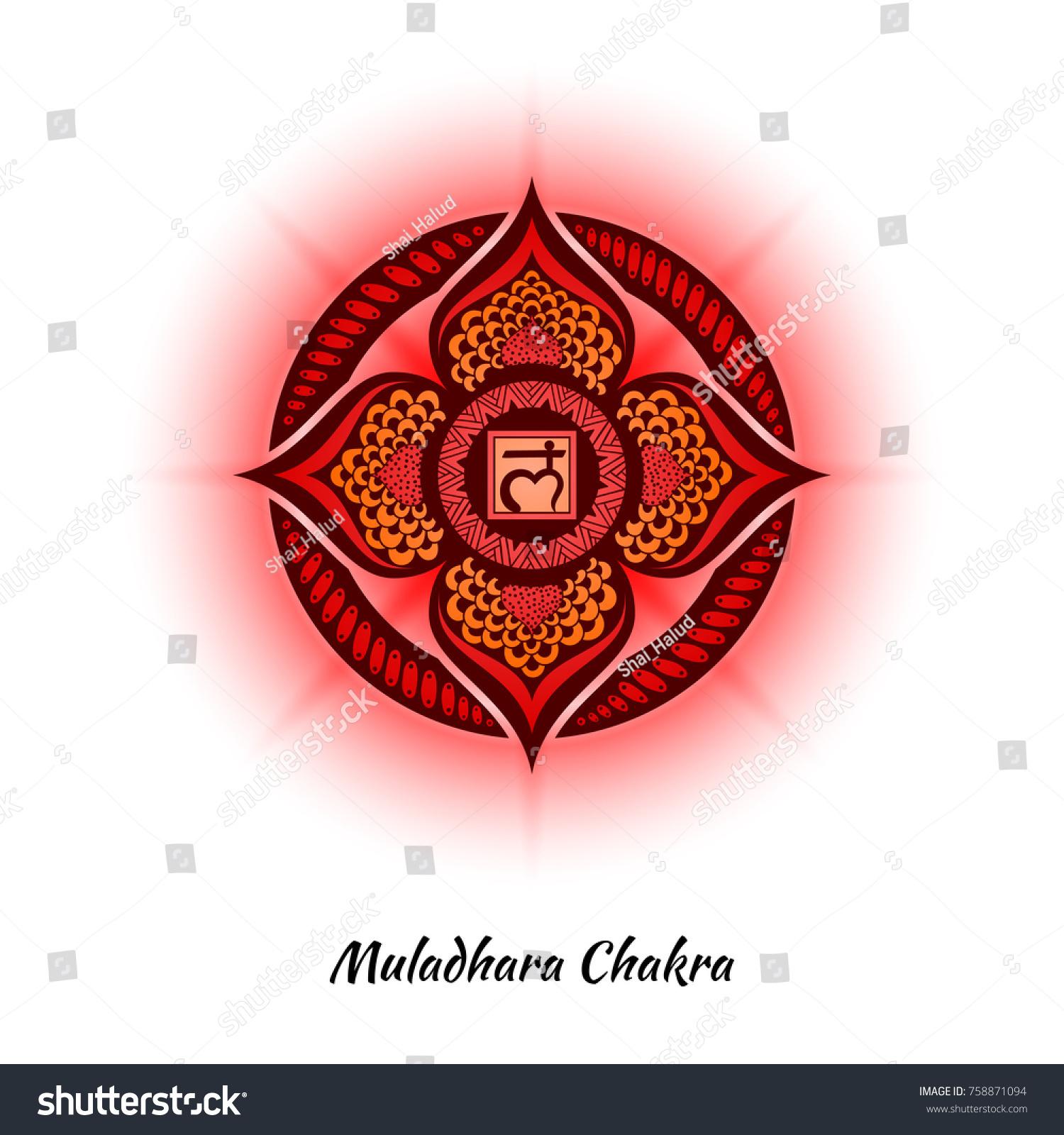 Muladhara Chakra Symbol Used Hinduism Buddhism Stock Vector Royalty