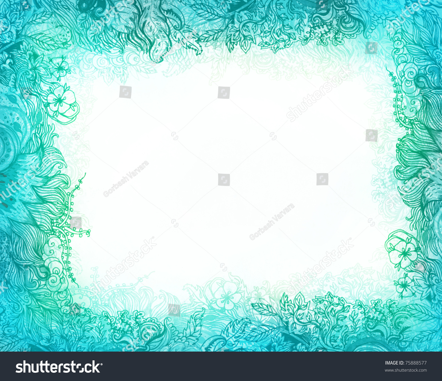 Beautiful Floral Patterned Frame Flowers Turquoise Stock ...
