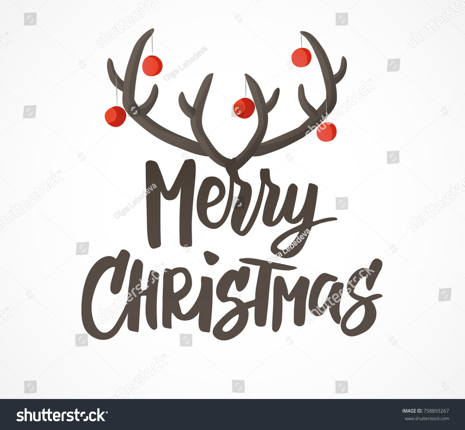 merry christmas card design hand drawn stock vector reindeer antlers and ears clipart reindeer antlers with lights clipart