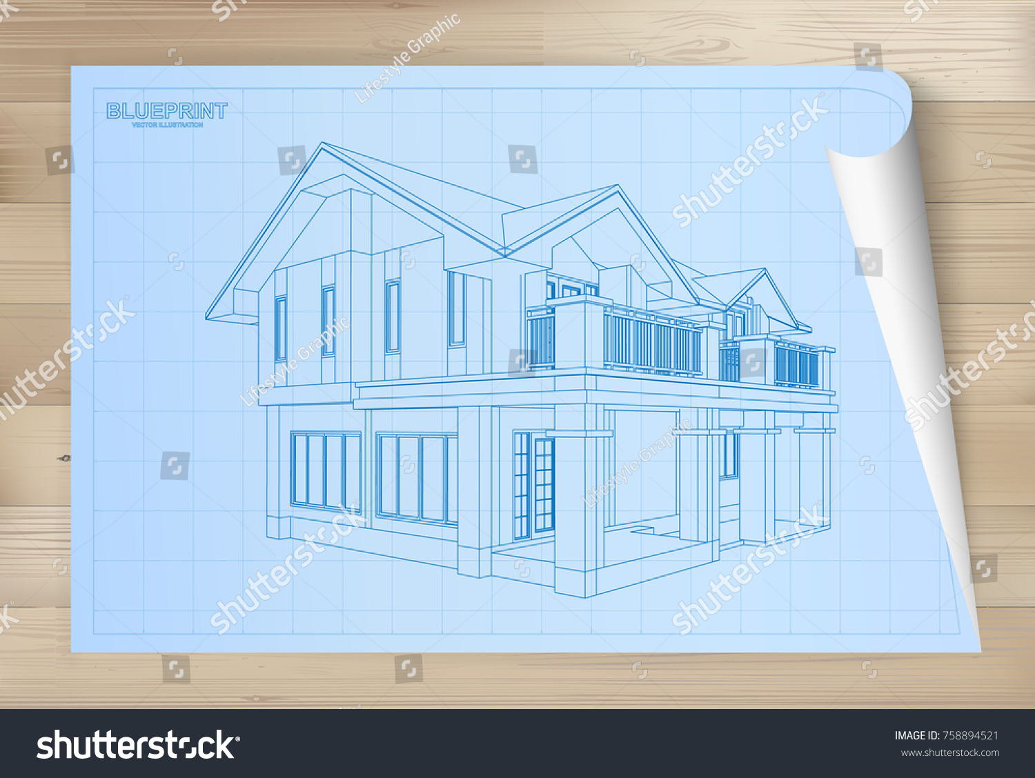 Idea house on blueprint paper architectural stock photo photo idea of house on blueprint paper architectural drawing paper on wooden texture background vector malvernweather Choice Image