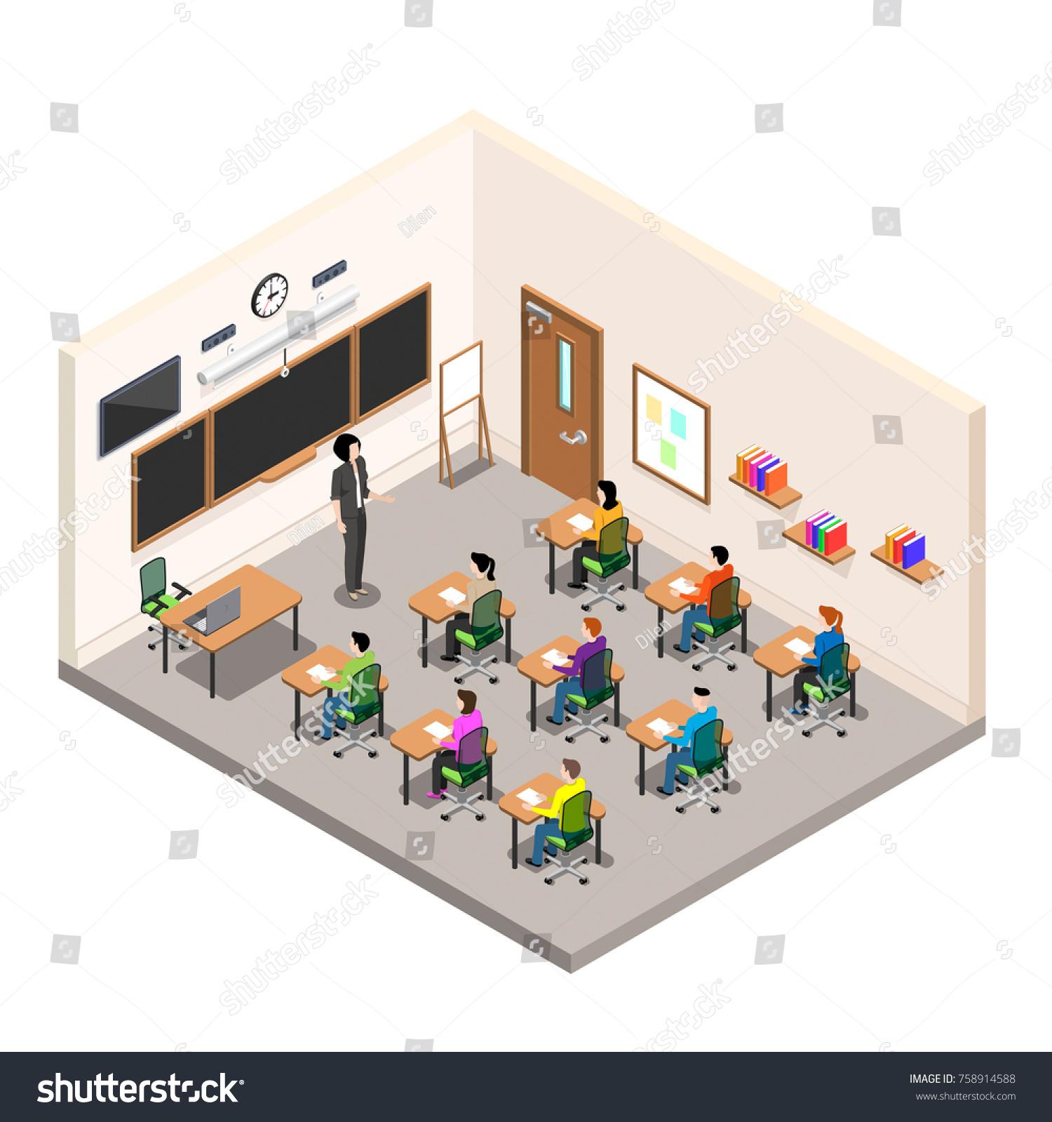 Modern Classroom Board ~ School room study classroom desks stock