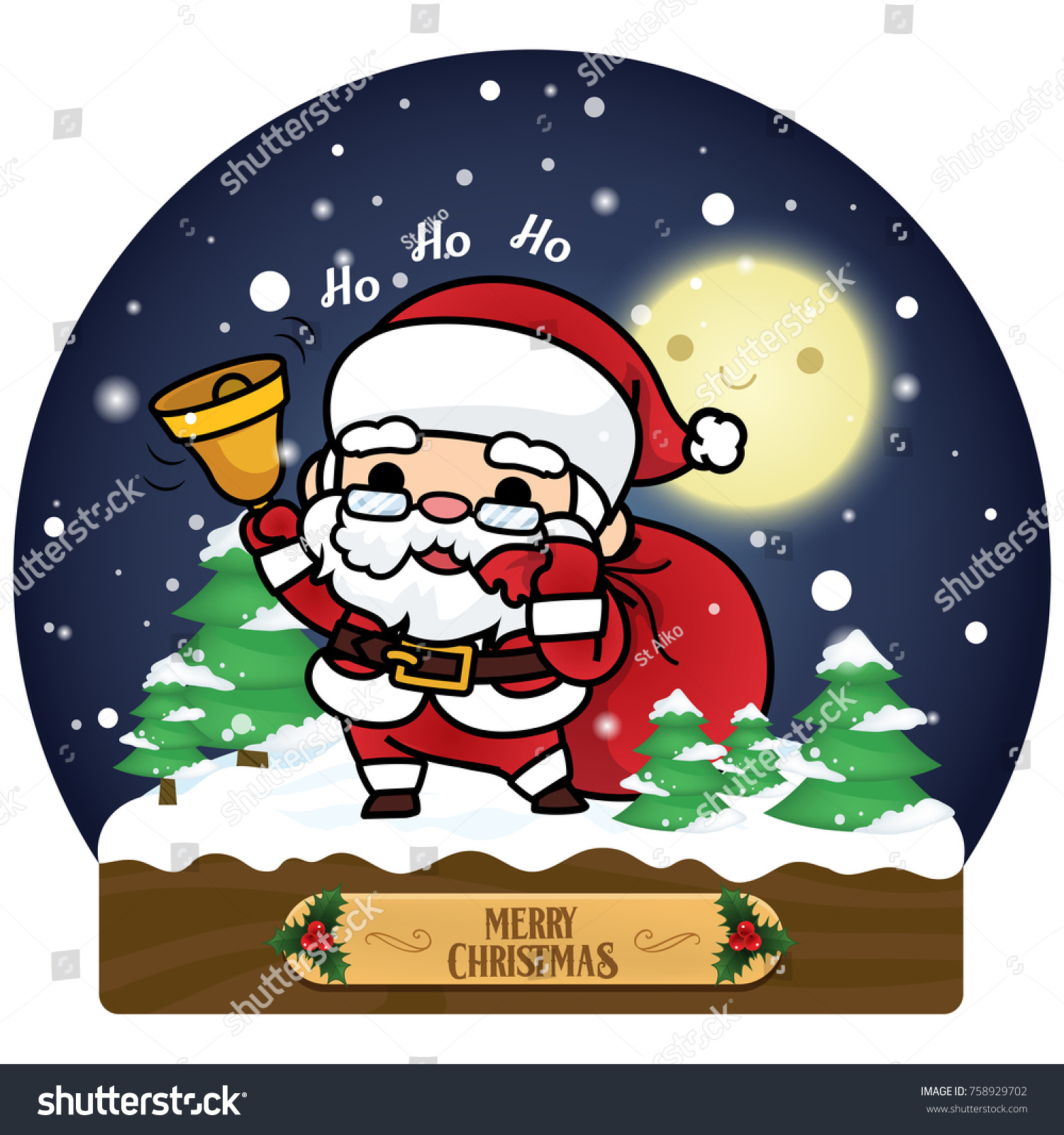 Merry christmas card illustration santa claus stock illustration merry christmas card illustration santa claus cute cartoon style with snowman reindeer and moon kristyandbryce Image collections