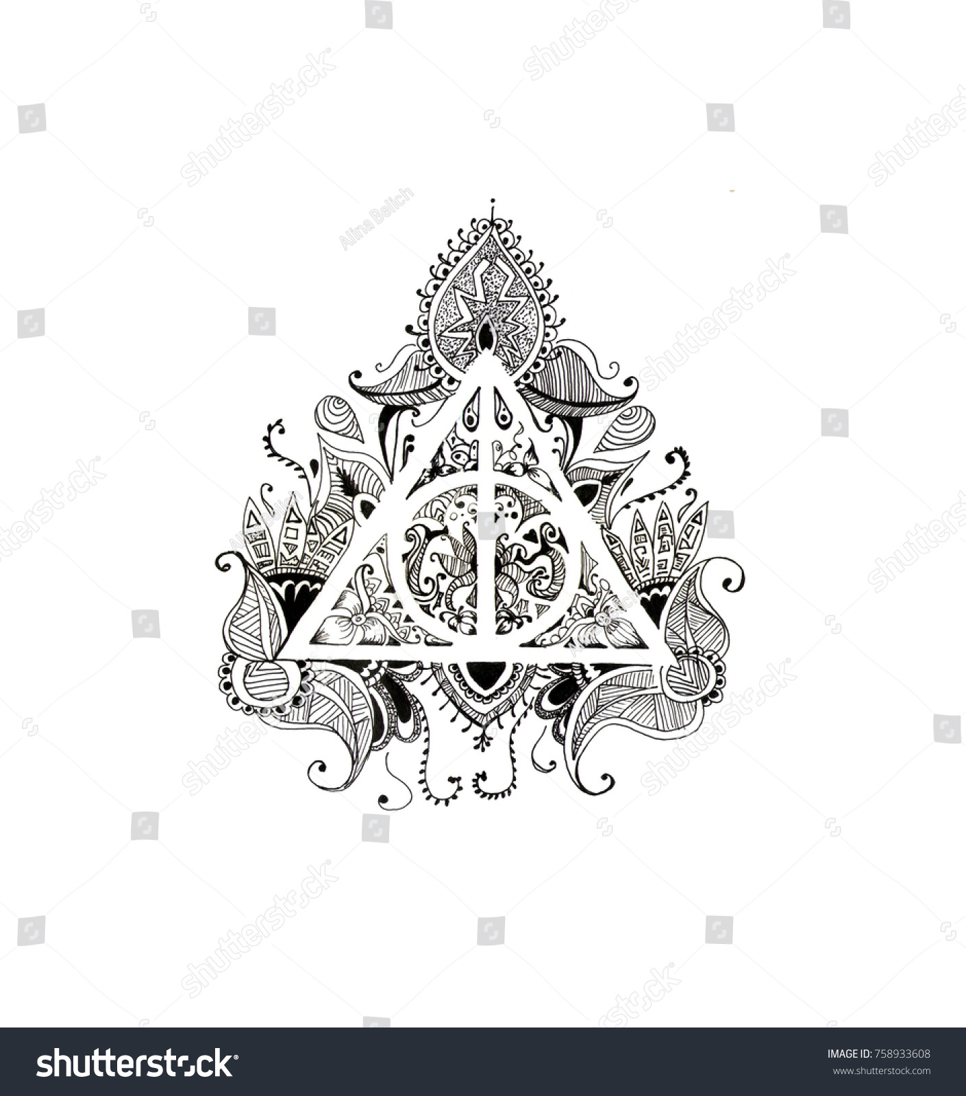 Graphic symbol deathly hallows black white stock illustration graphic symbol of the deathly hallows black and white with patterns on a white background biocorpaavc