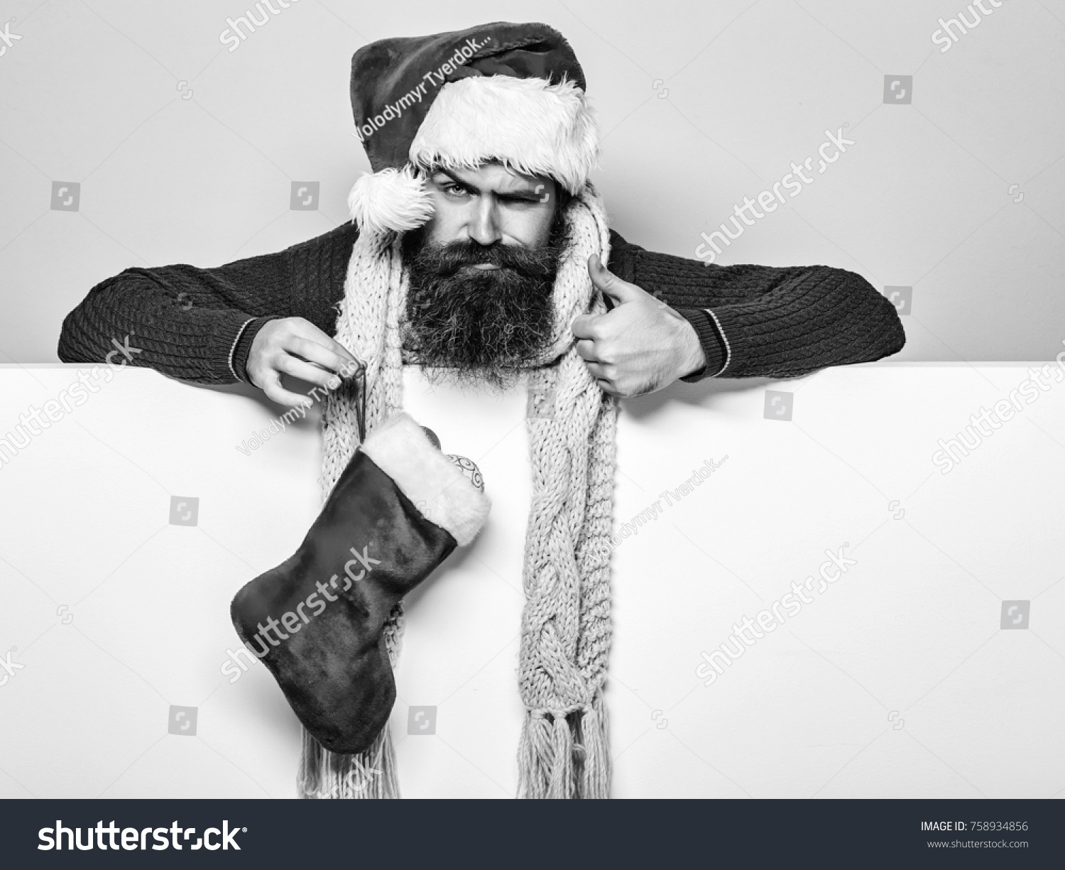 Young Handsome Bearded Santa Claus Man Stock Photo 758934856 ...