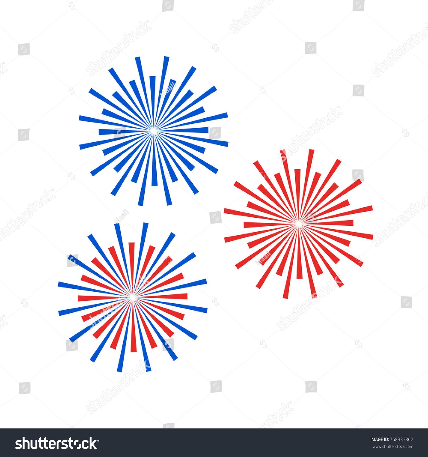 Colorful Minimalist Design: Colorful Firework Icon Flat Minimalist Design Stock Vector