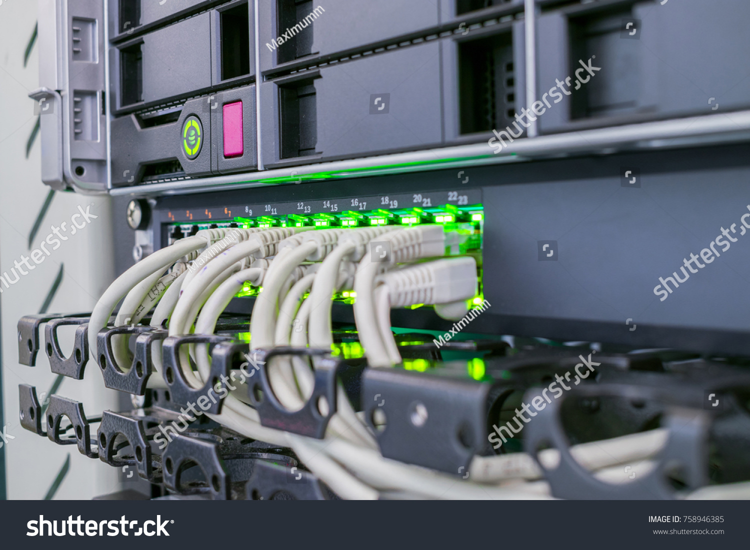 Connecting Internet Wires Computer Equipment Cabling Stock Photo Wiring A Patch Panel The With In Server Cabinet