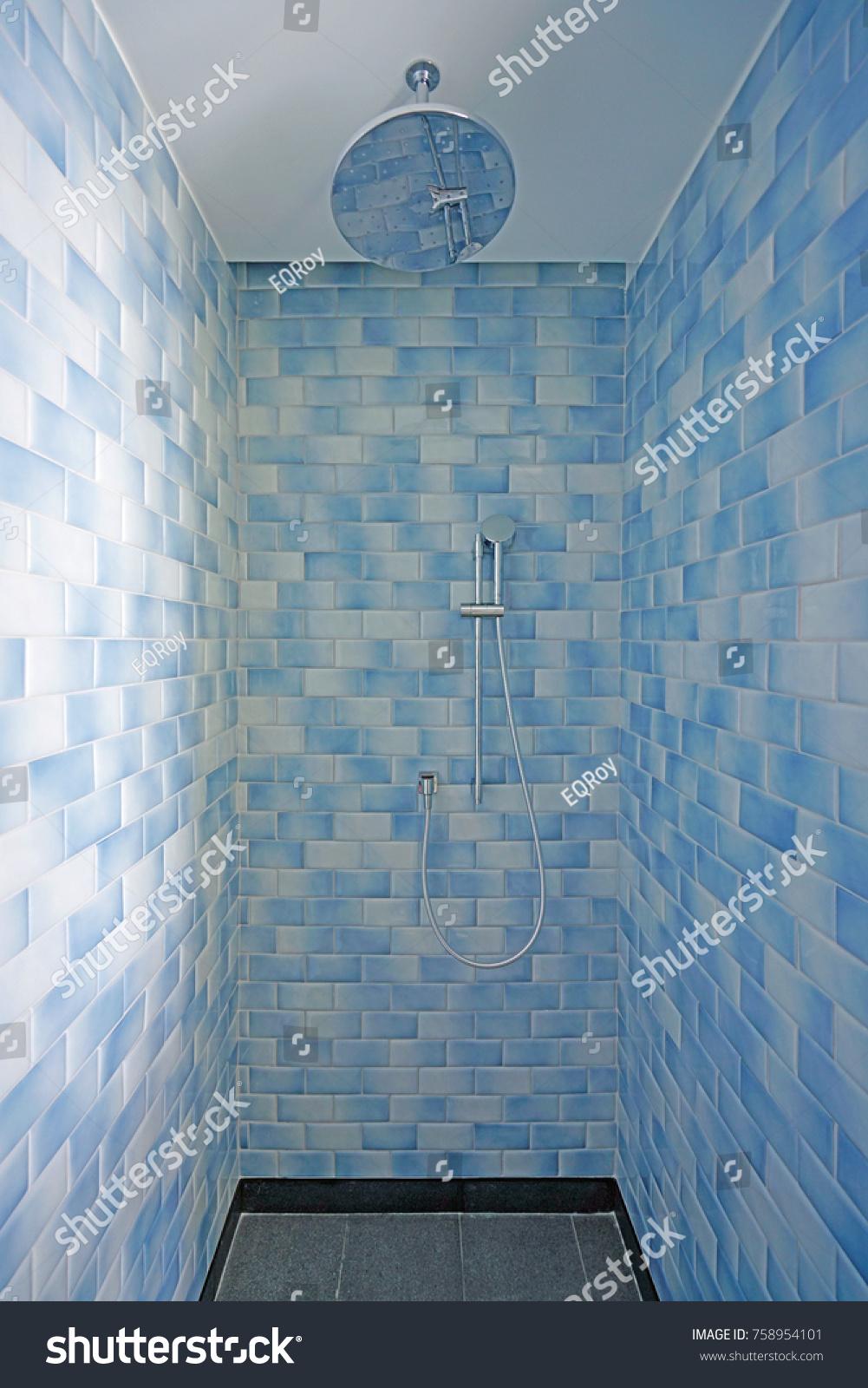 Modern Shower Stall Blue White Tiles Stock Photo (Royalty Free ...