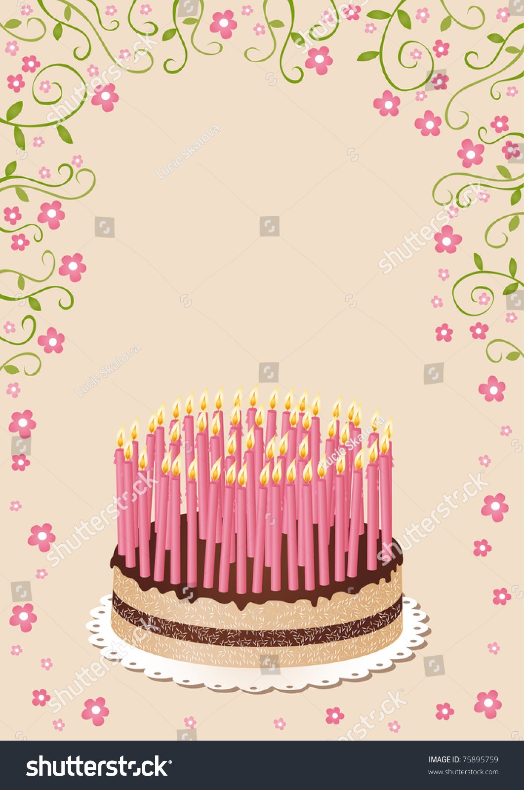 Birthday Cake 50 Candles Raster Image Stock Illustration 75895759
