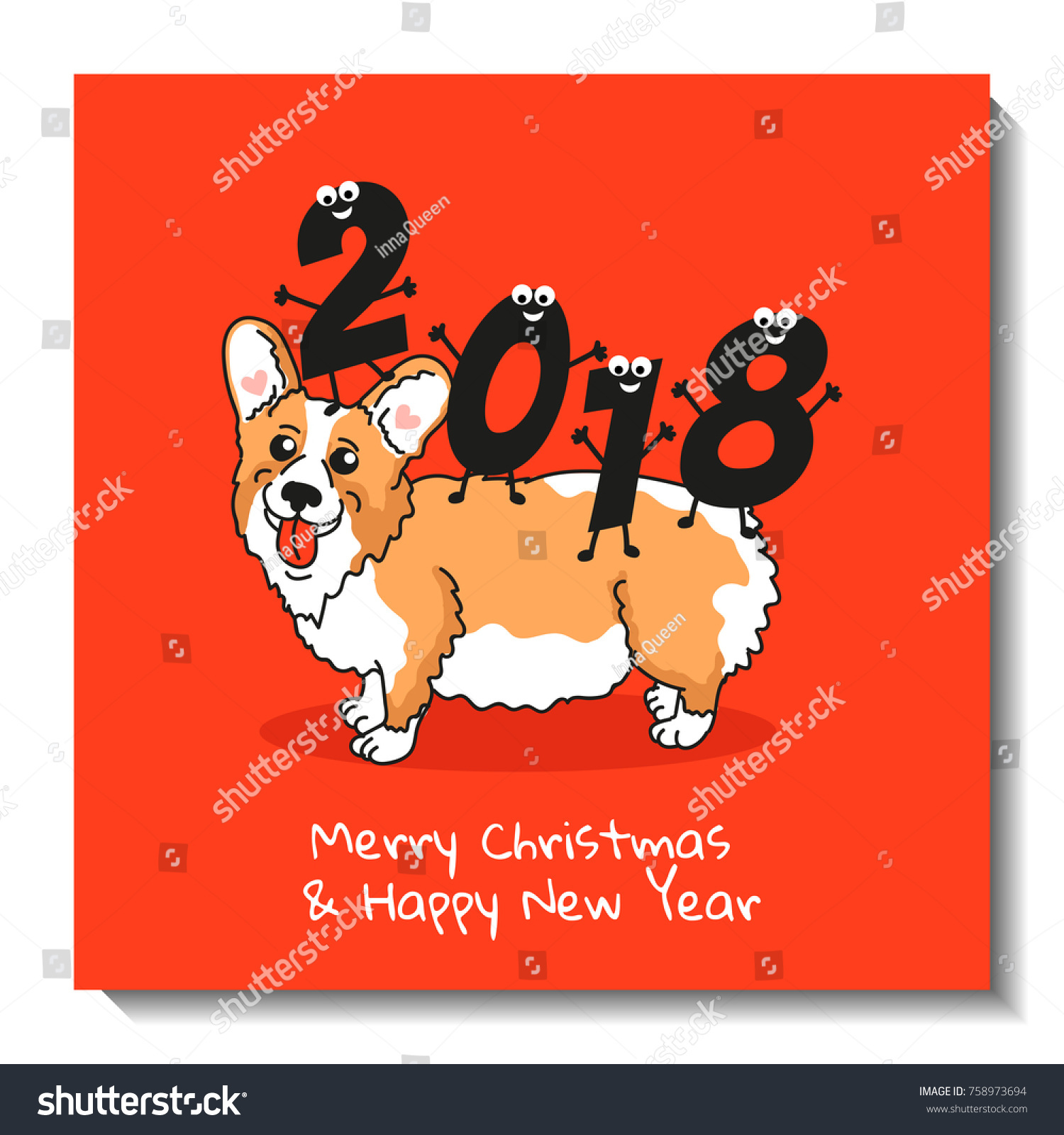 Holiday postcard cute welsh corgi pembroke stock vector 758973694 holiday postcard with cute welsh corgi pembroke and funny figures christmas card design happy kristyandbryce Image collections