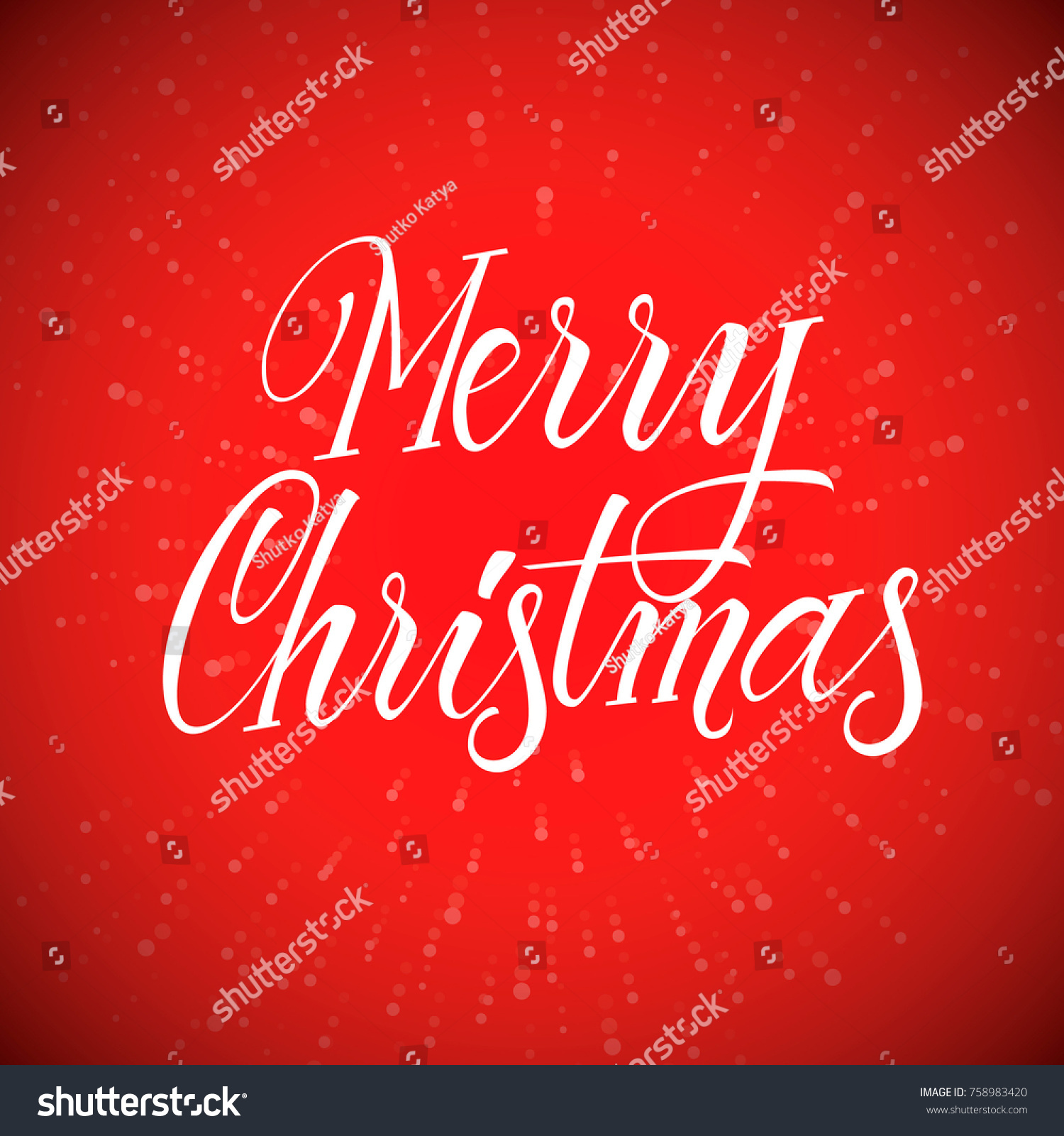 Merry Christmas Calligraphy For Greeting Card Lettering Vector