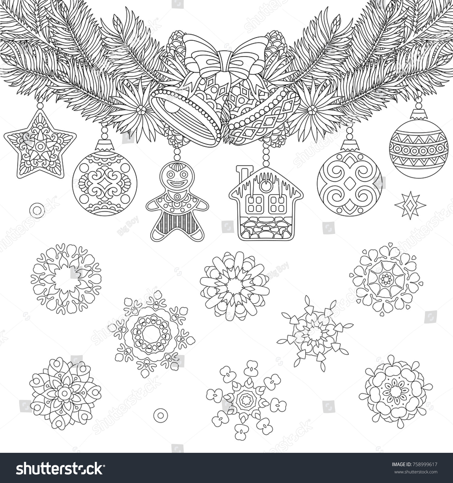 Christmas Coloring Page Holiday Ornaments Fir Stock Vector 758999617 ...