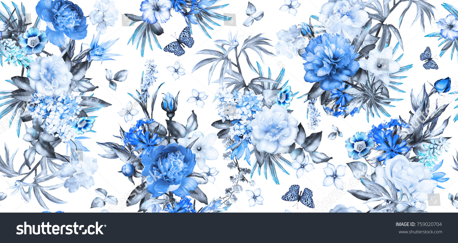 Seamless Pattern With Flowers And Exotic Leaves On White Background Blue Floral For Wallpaper