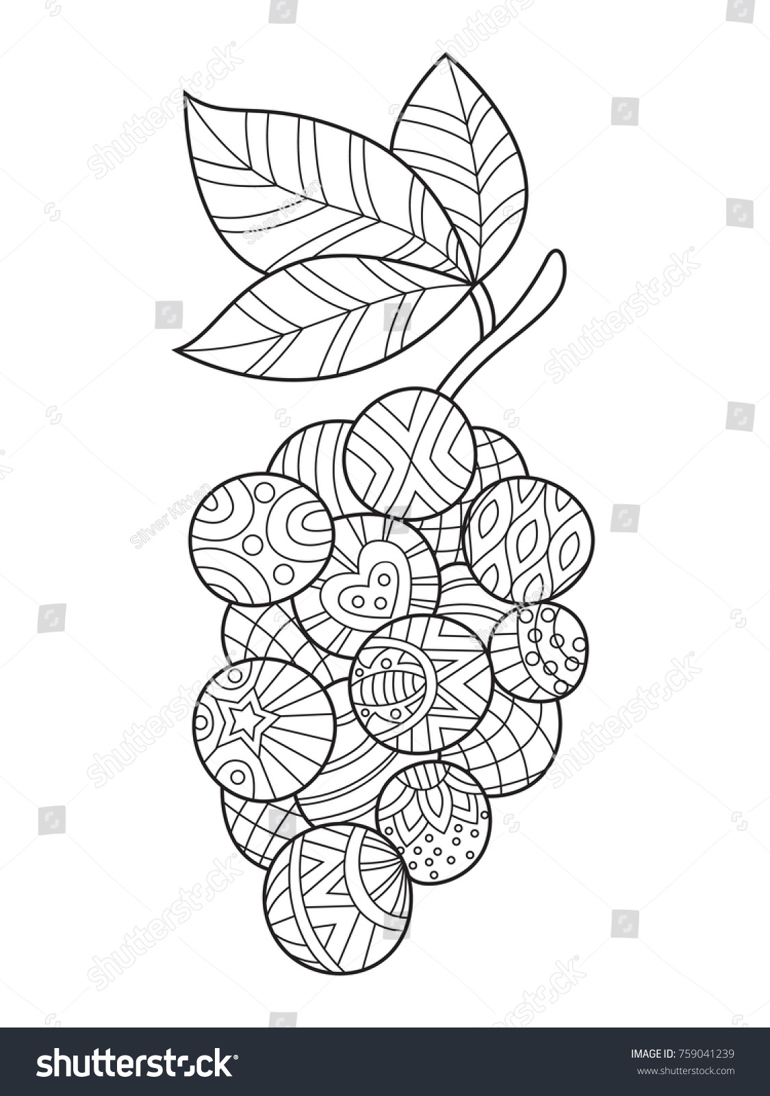 Outlined Zentangle Antistress Coloring Page Appletree Stock Vector ...