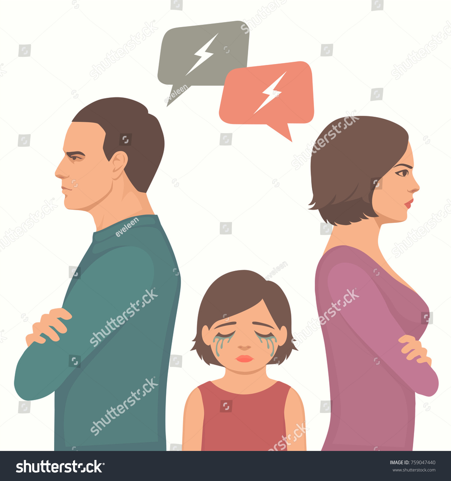 Angry Couple Fight Parents Divorce Sad Stock Vector Royalty Free 759047440