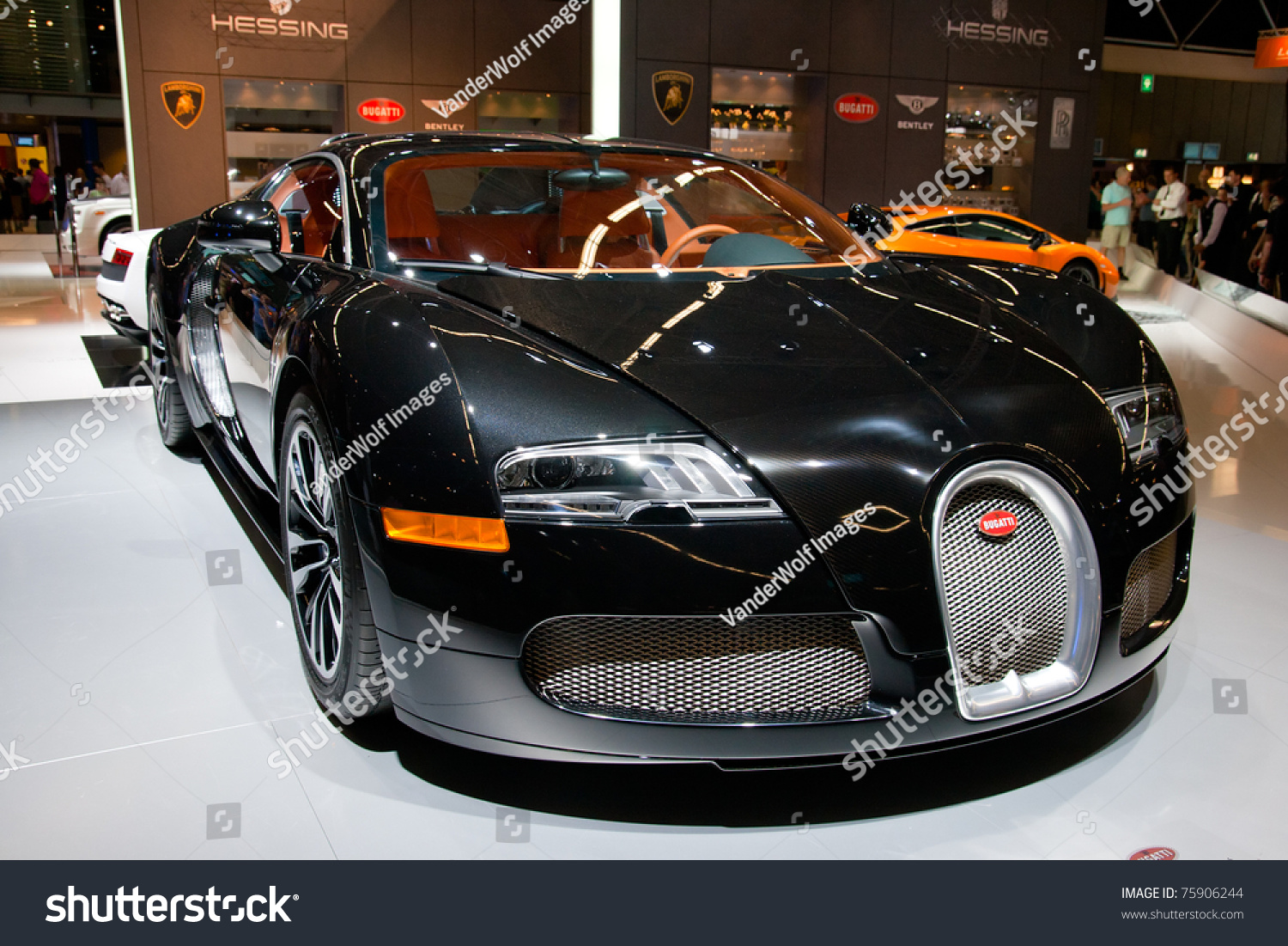 amsterdam april 22 bugatti veyron 16 4 sang noir on display during the aut. Black Bedroom Furniture Sets. Home Design Ideas