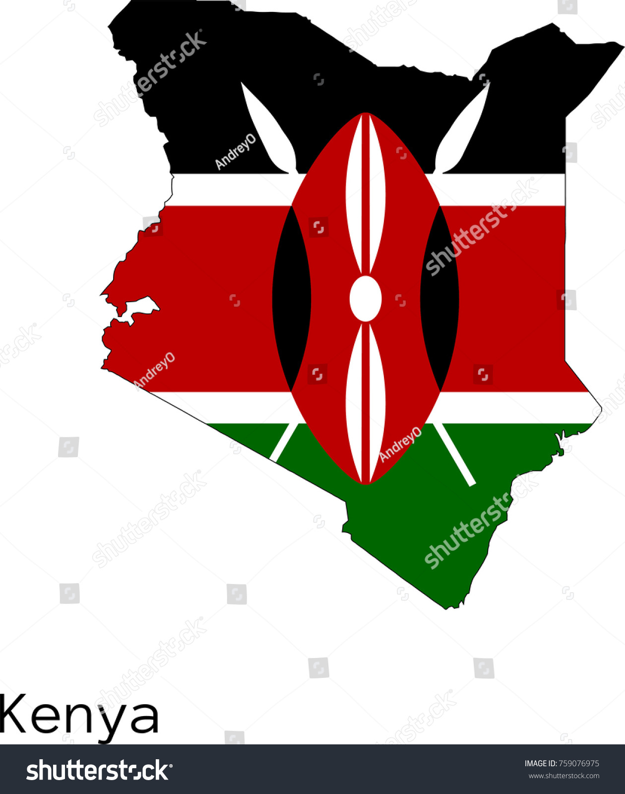 Vector Kenya Map Silhouette Painted Colors Stock Vector Royalty