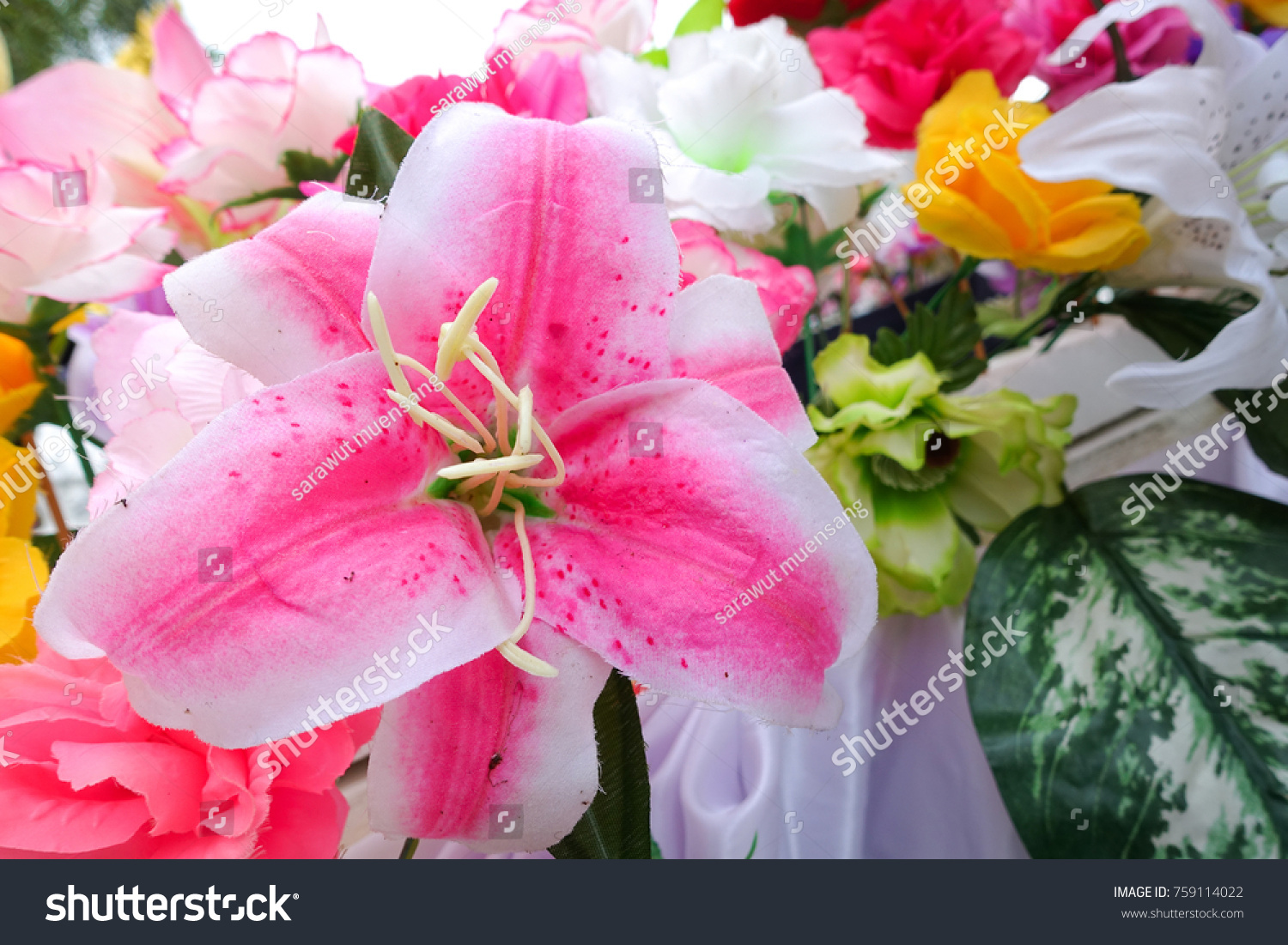 Fake flower floral background rose flowers stock photo 759114022 fake flower and floral background rose flowers made of fabric the fabric flowers bouquet izmirmasajfo Image collections
