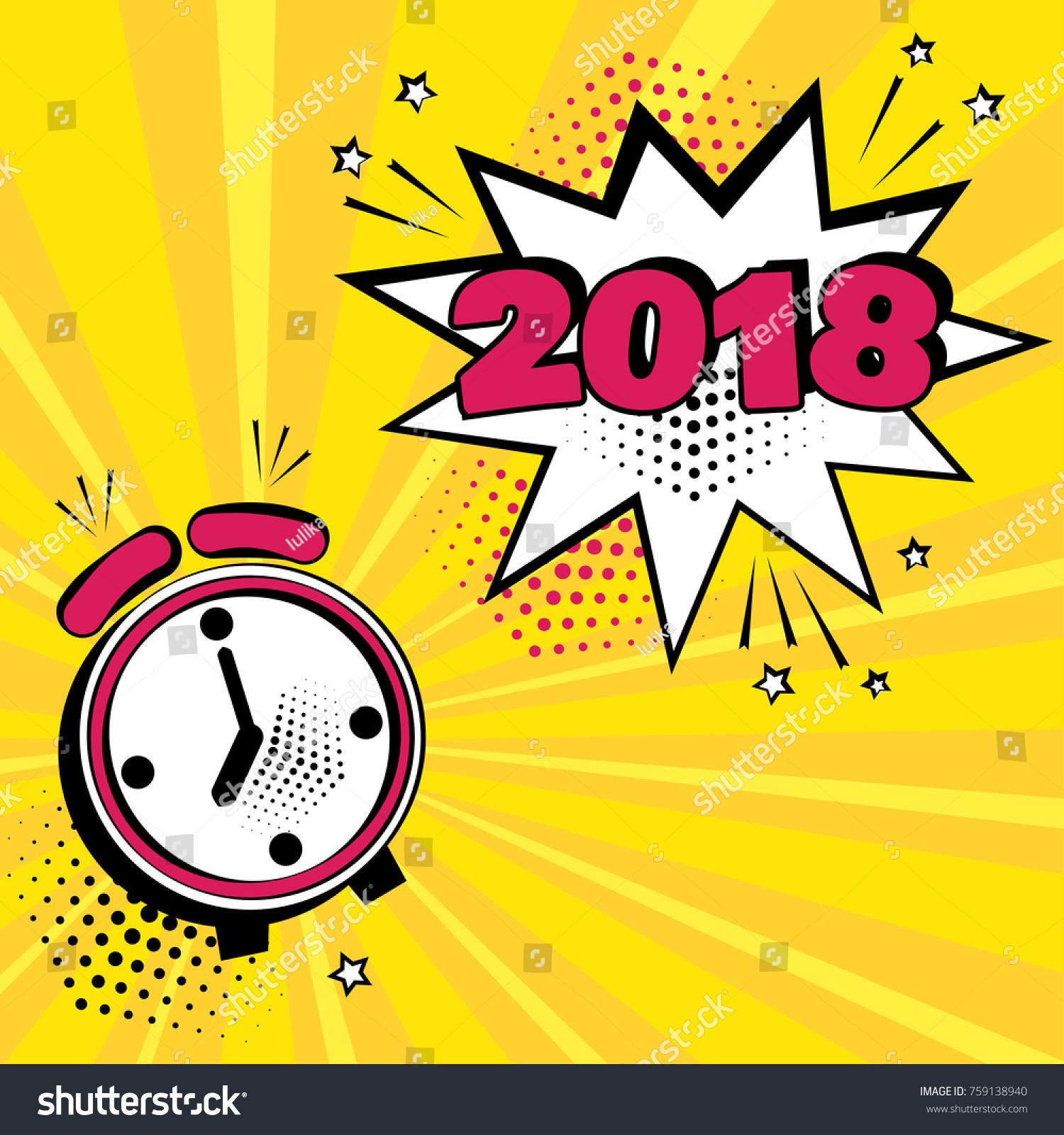 Alarm Clock White Comic Bubble 2018 Stock Vector (Royalty