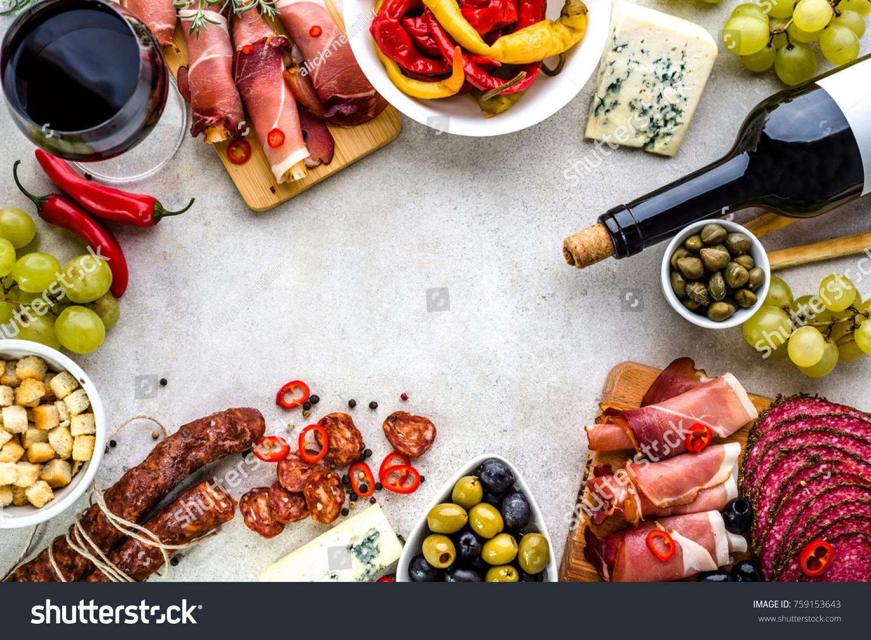 Traditional Spanish Tapas Selection Food Border Stock Photo (Edit ...