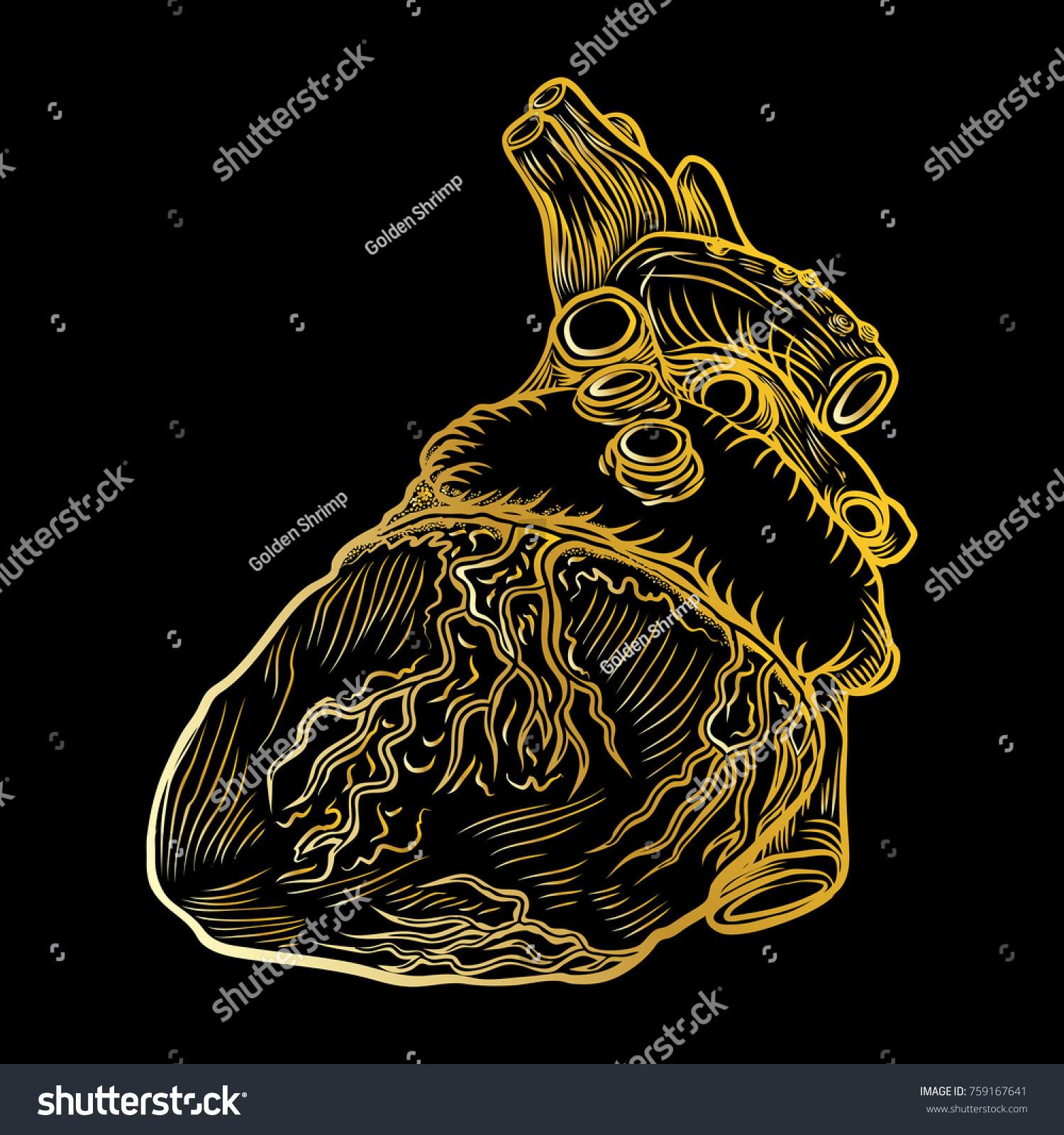 Heart Boho Black Work Dot Work Stock Vector Royalty Free 759167641