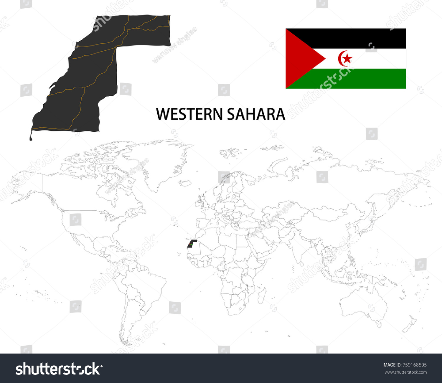 Image of: Western Sahara Map On World Map Stock Vector Royalty Free 759168505