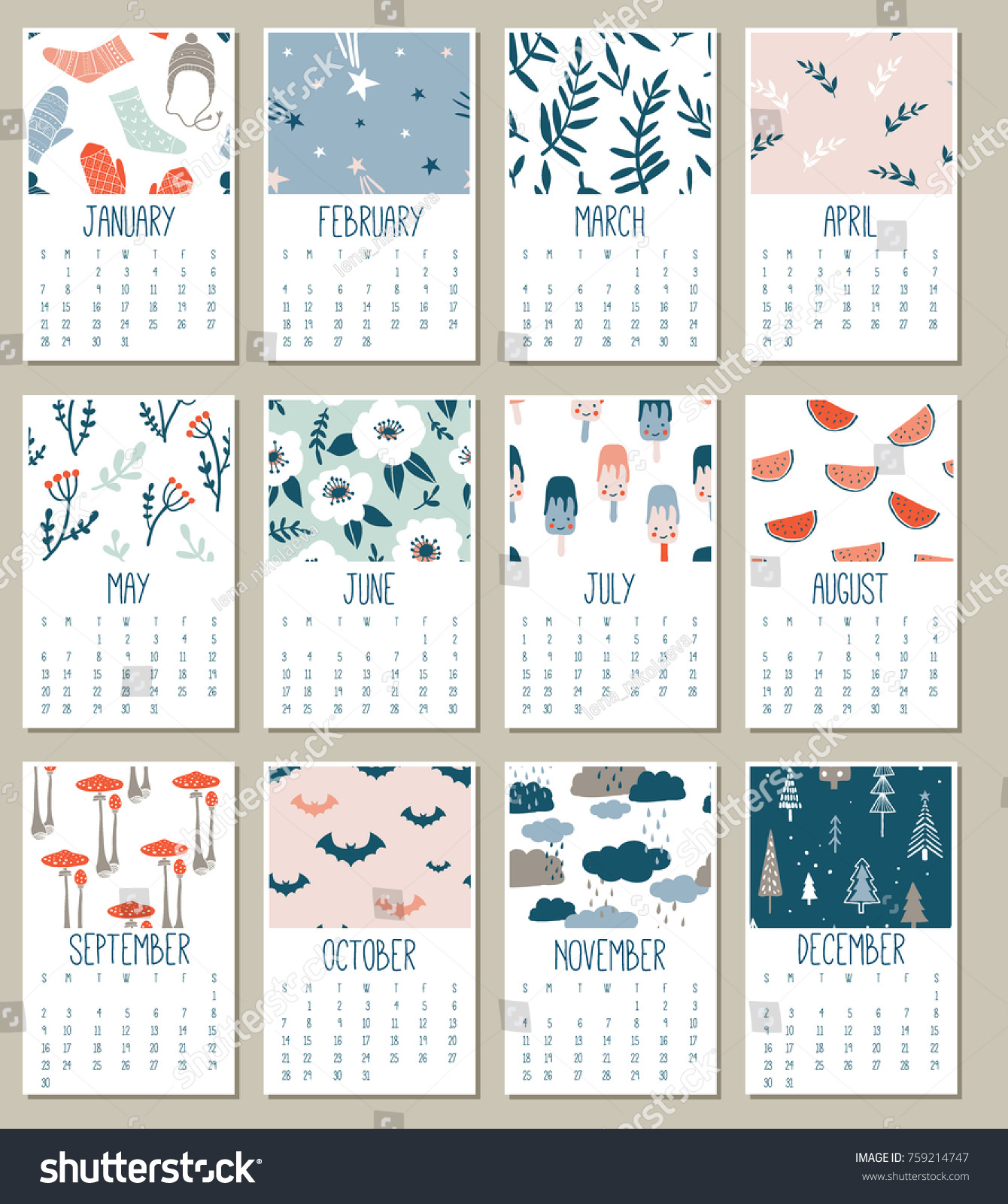 modern creative calendar 2018 templates with cute doodle hand drawn textures monthly calendar