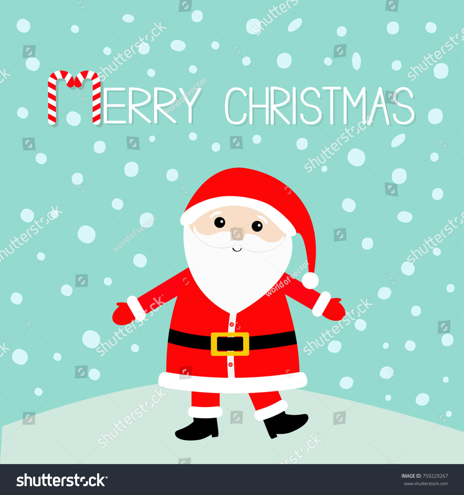 Santa Claus wearing red hat, costume, big beard, belt buckle. Merry ...