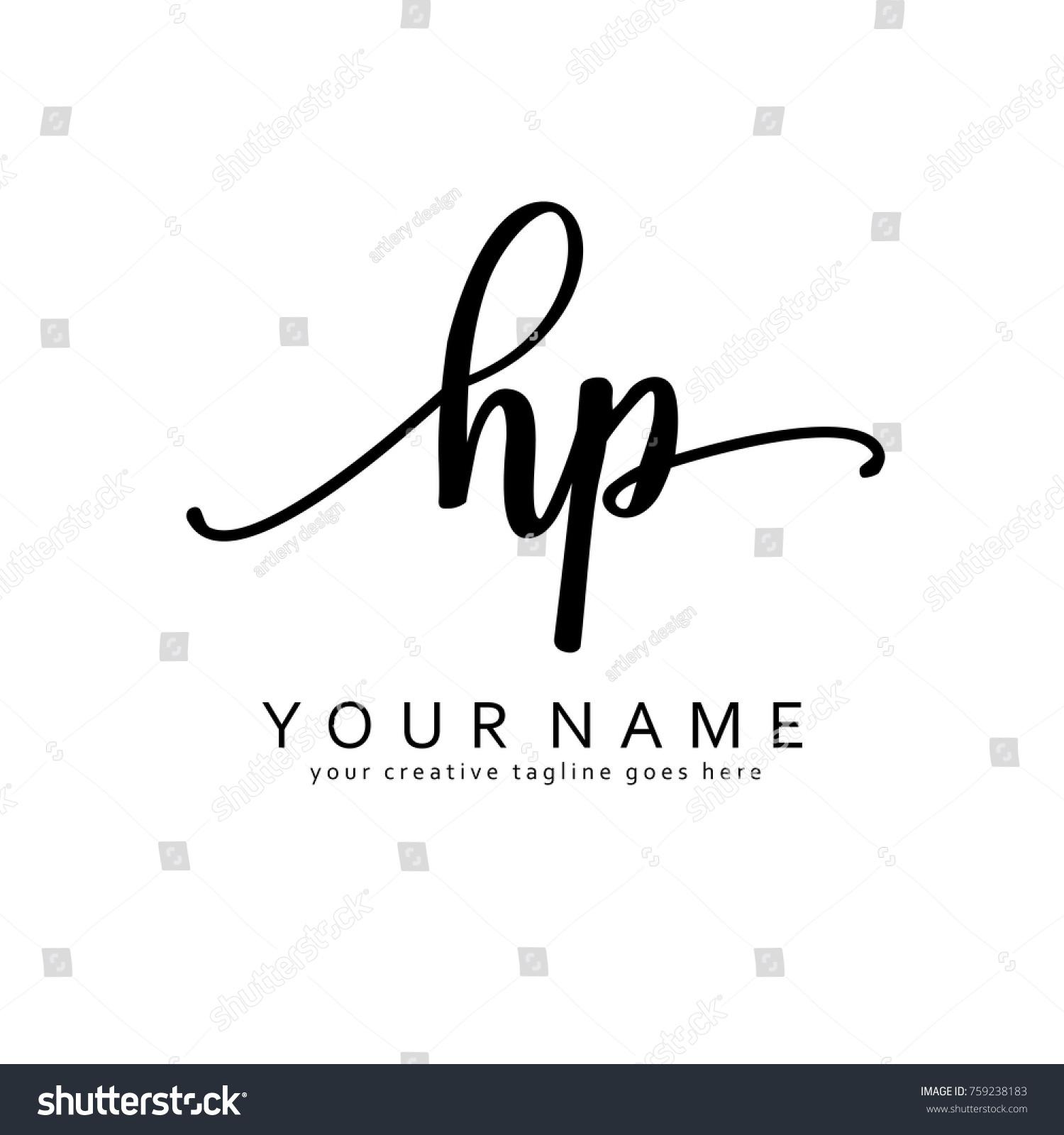 Handwriting H P Initial Logo Template Vector