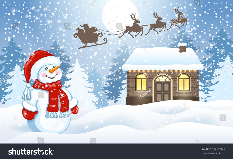 Christmas Card Funny Snowman Santas Workshop Stock Vector (Royalty ...
