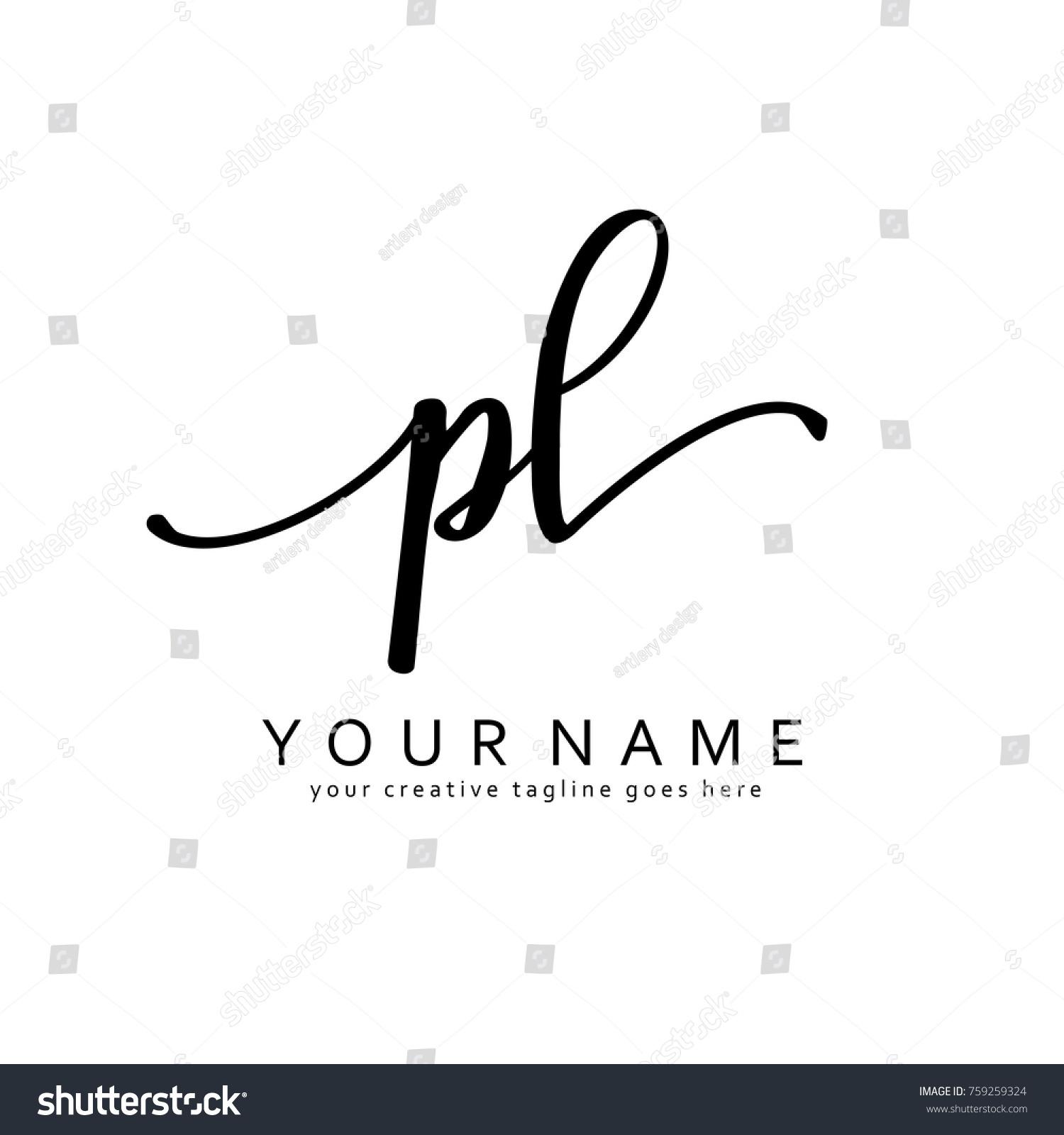 handwriting p l initial logo template stock vector royalty free