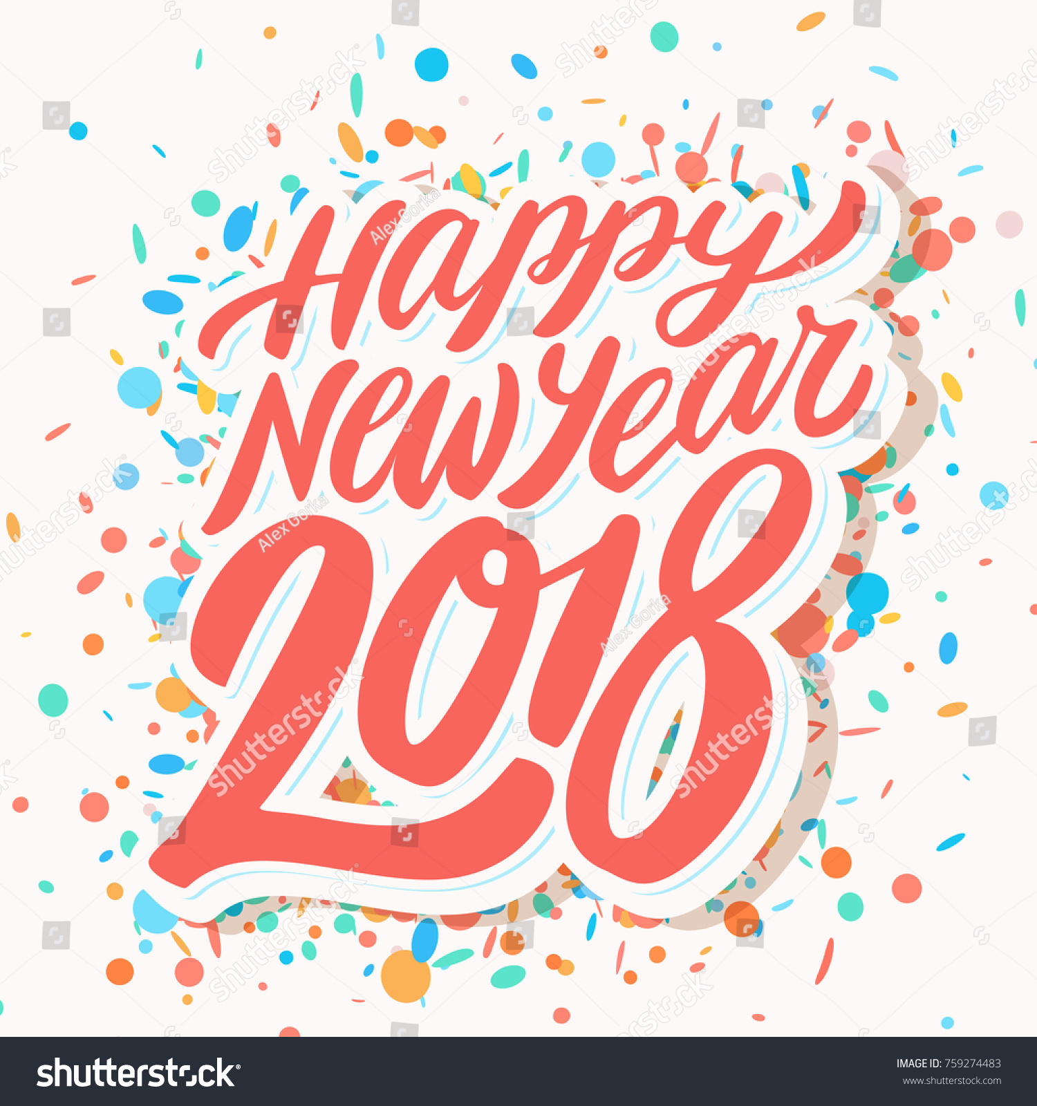 happy new year 2018 greeting card stock vector 759274483