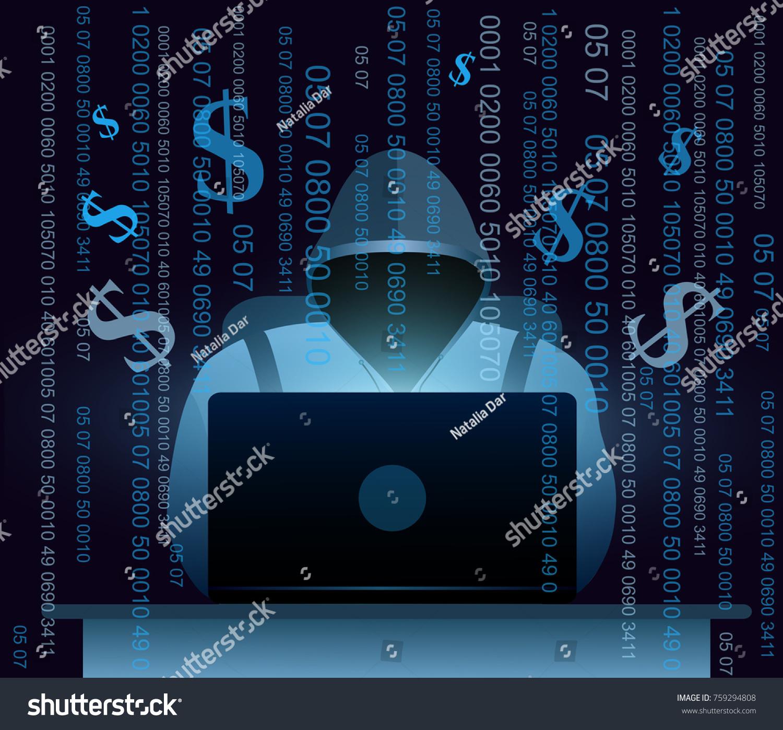 Vector Illustration Hacker Laptop Hacking Internet Stock Vector