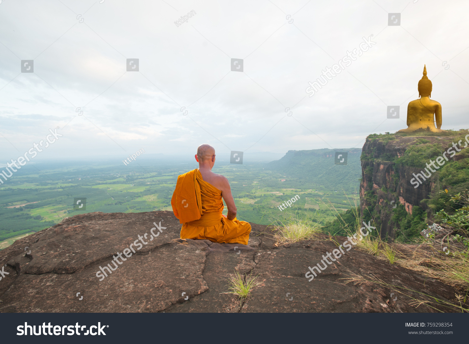 Buddhist Monk Meditation Beautiful Nature Golden Stock Photo Edit Now 759298354